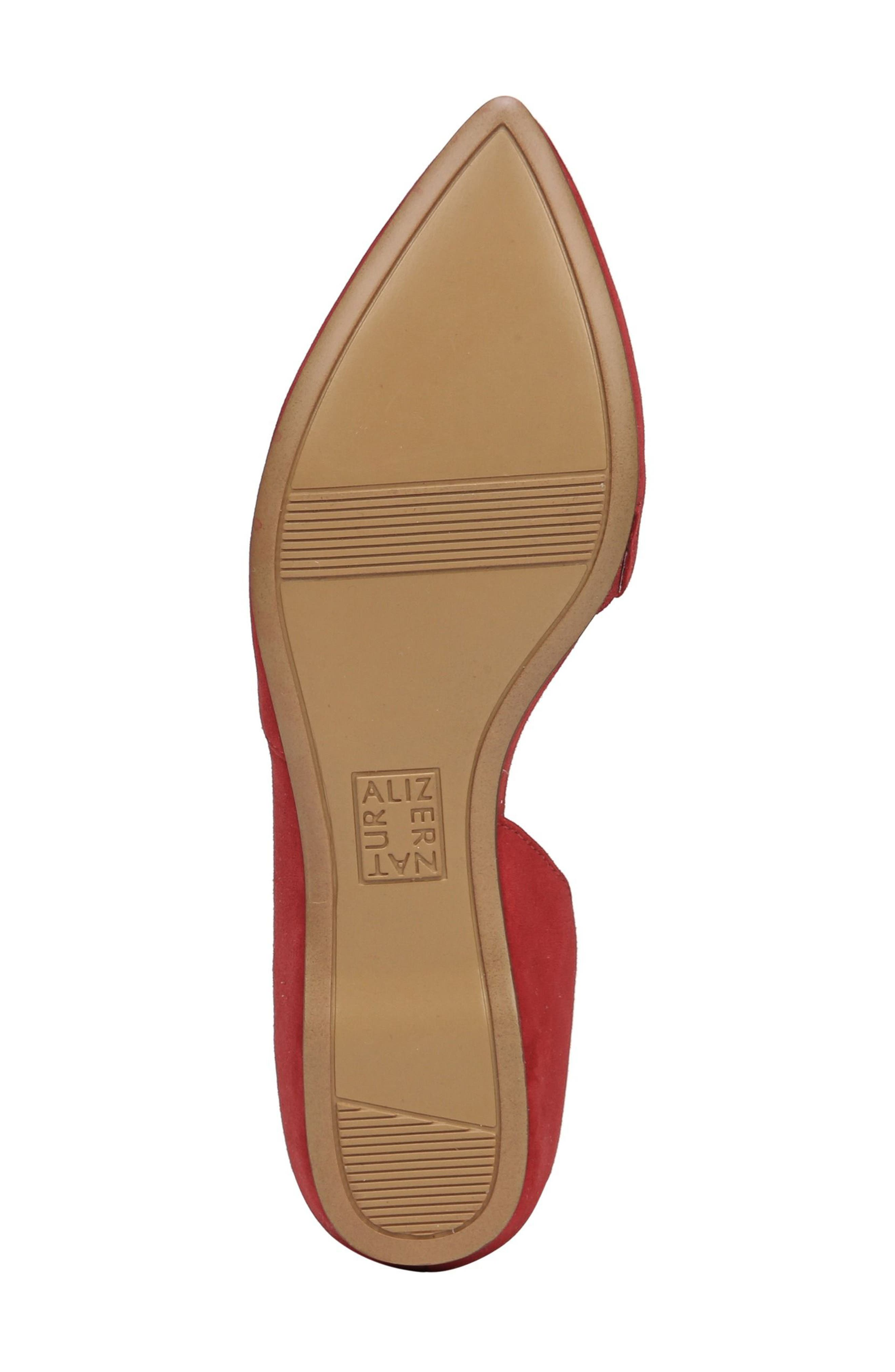 Samantha Half d'Orsay Flat,                             Alternate thumbnail 5, color,                             Hot Sauce Suede