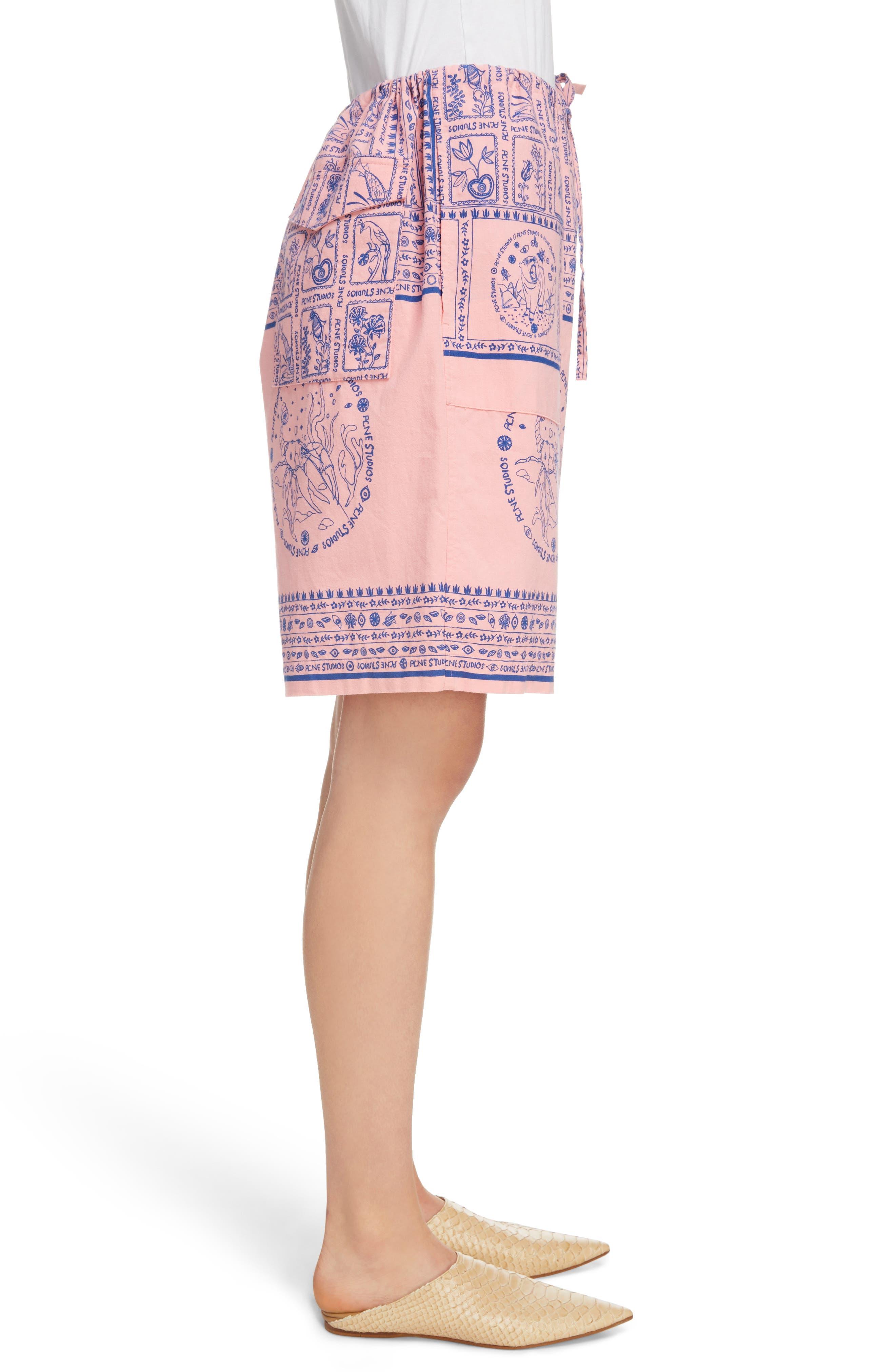Nejlika Print Shorts,                             Alternate thumbnail 4, color,                             Pink Block Print