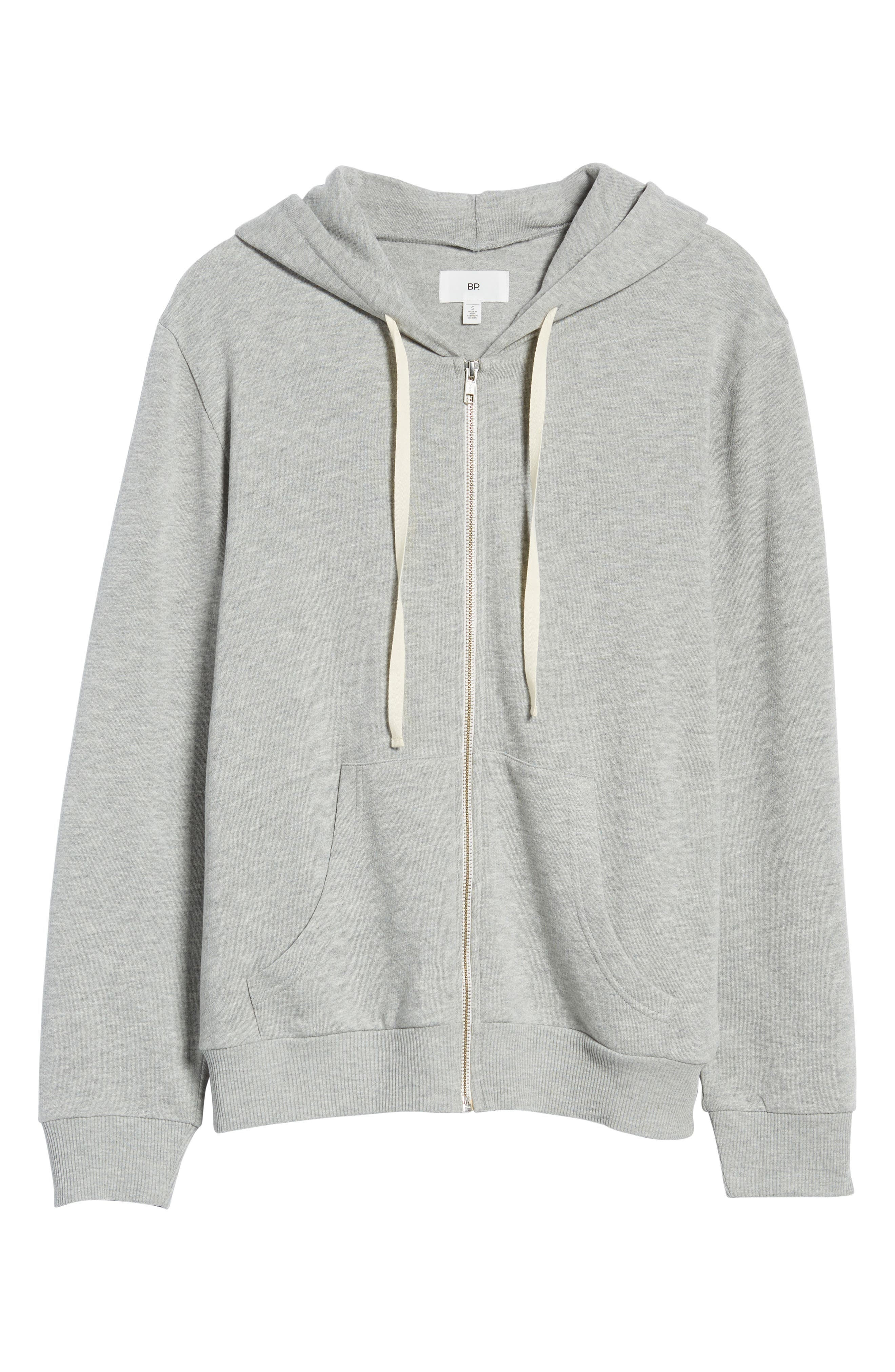 Zip Front Hoodie,                             Alternate thumbnail 7, color,                             Grey Medium Heather