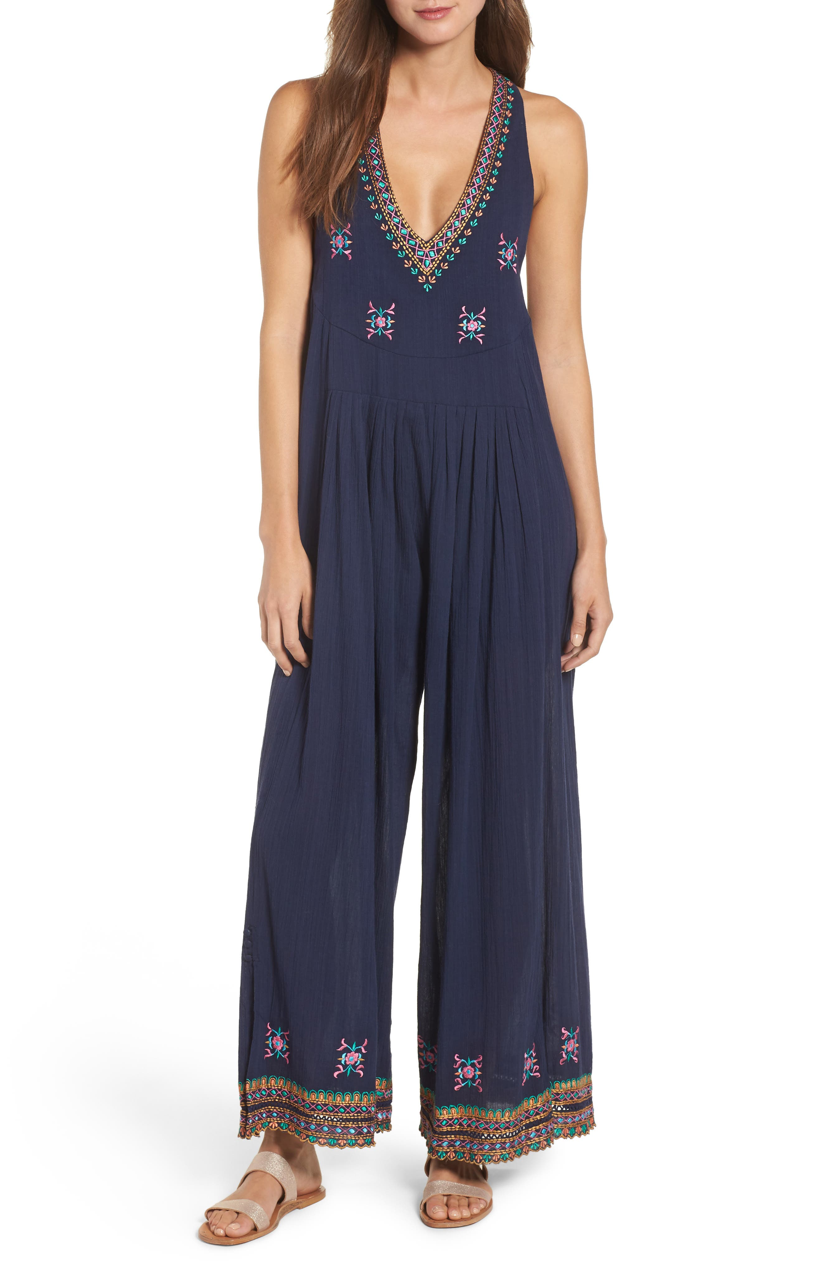 KAS NEW YORK OSIAN HAND EMBROIDERED COTTON GAUZE JUMPSUIT