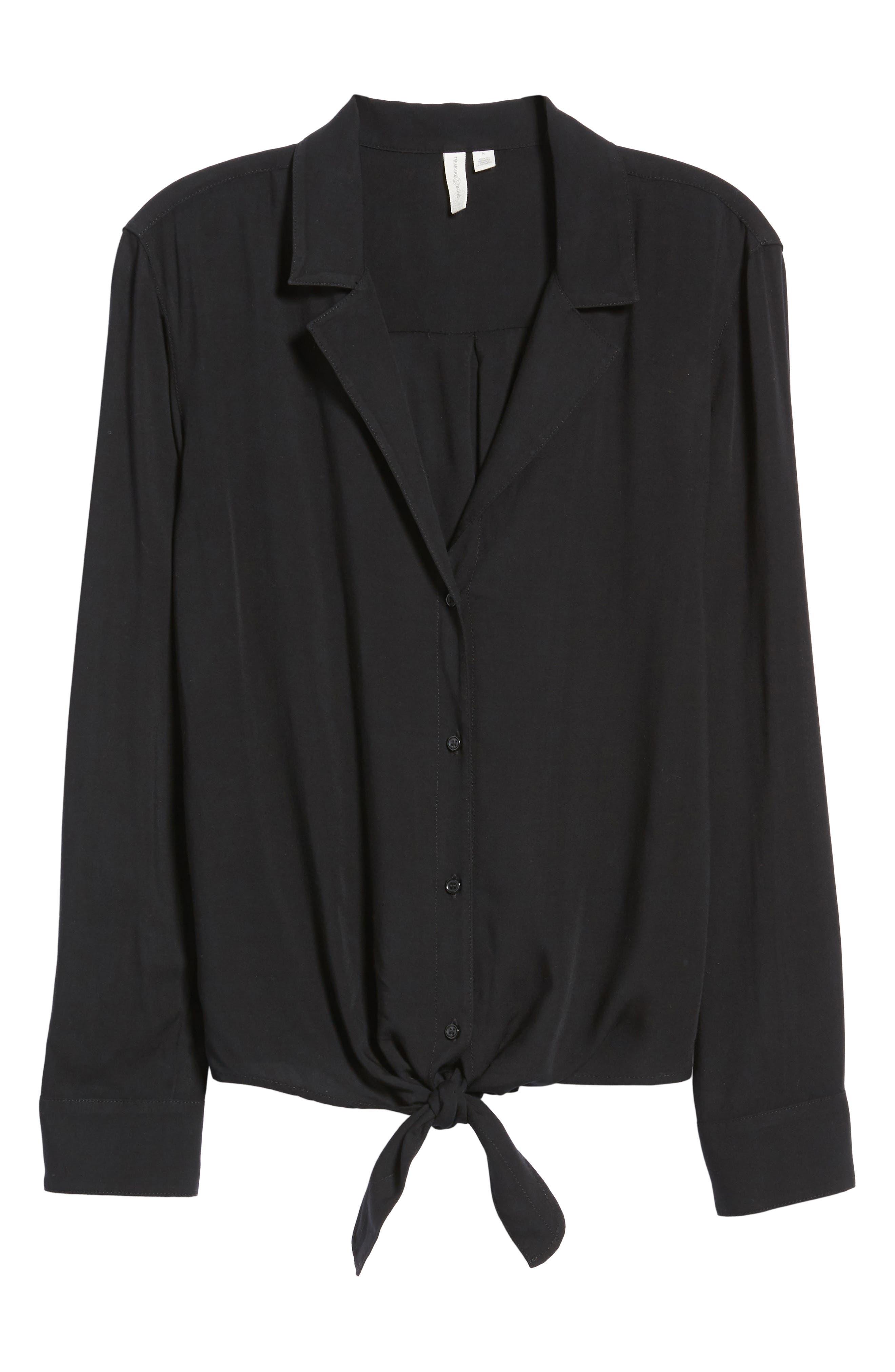 Tie Front Shirt,                             Alternate thumbnail 7, color,                             Black