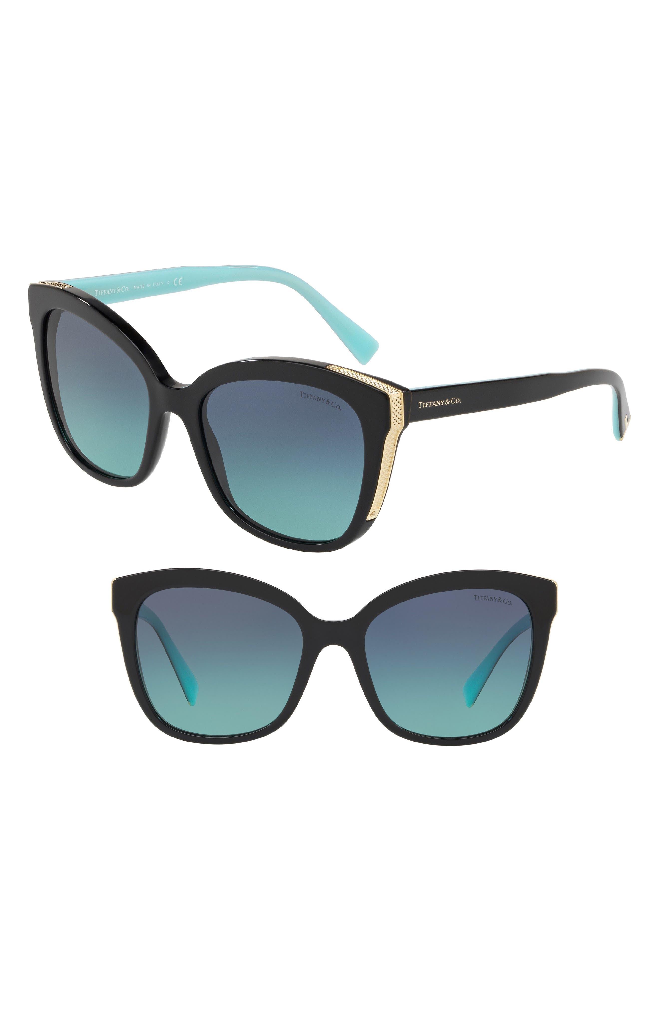 Diamond Point 55mm Gradient Square Sunglasses,                             Main thumbnail 1, color,                             Black Gradient