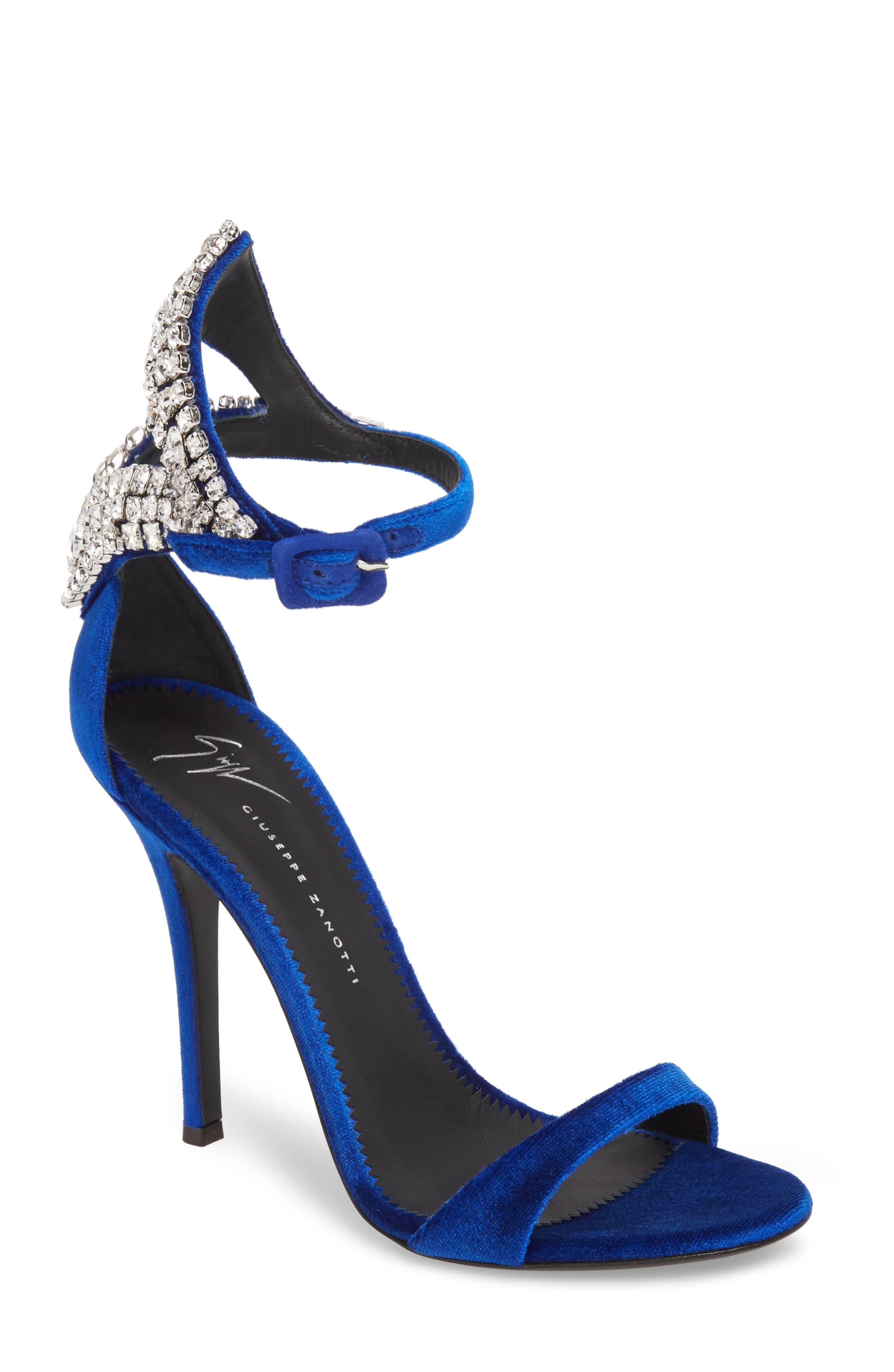 Crystal Embellished Sandal,                             Main thumbnail 1, color,                             Electric Blue