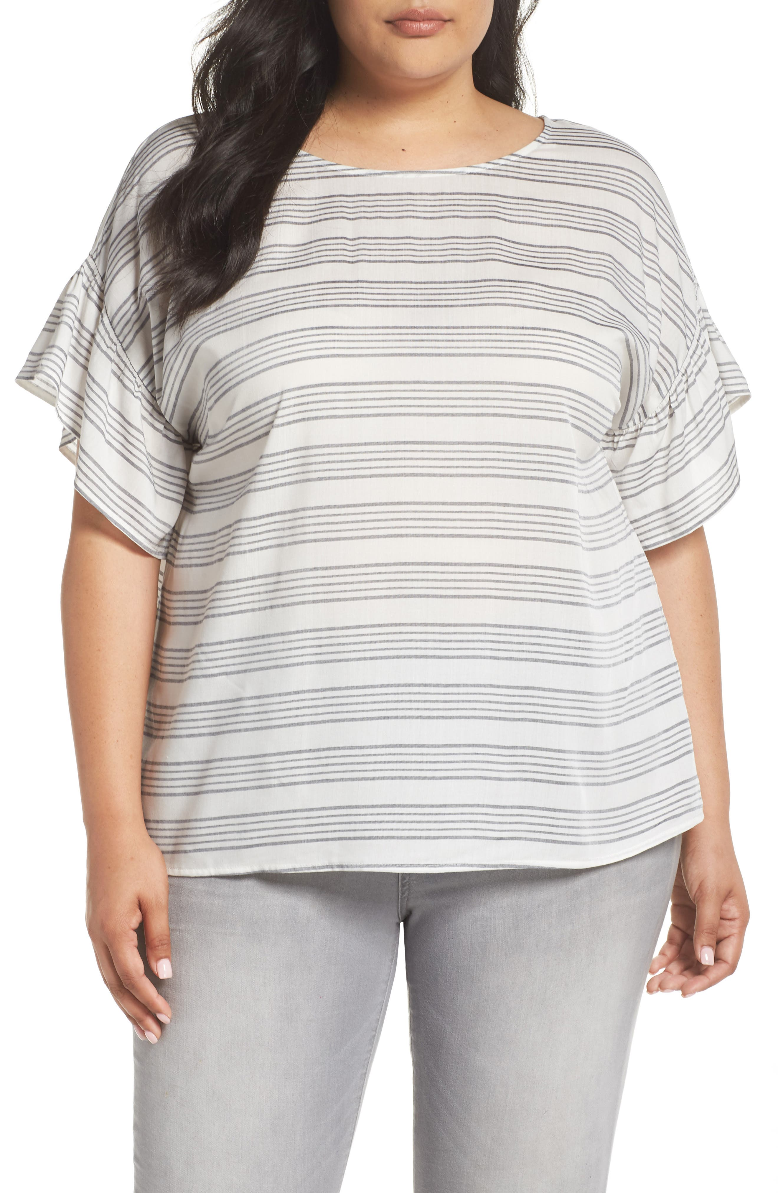 Ruffle Sleeve Bar Stripe Top,                         Main,                         color, New Ivory