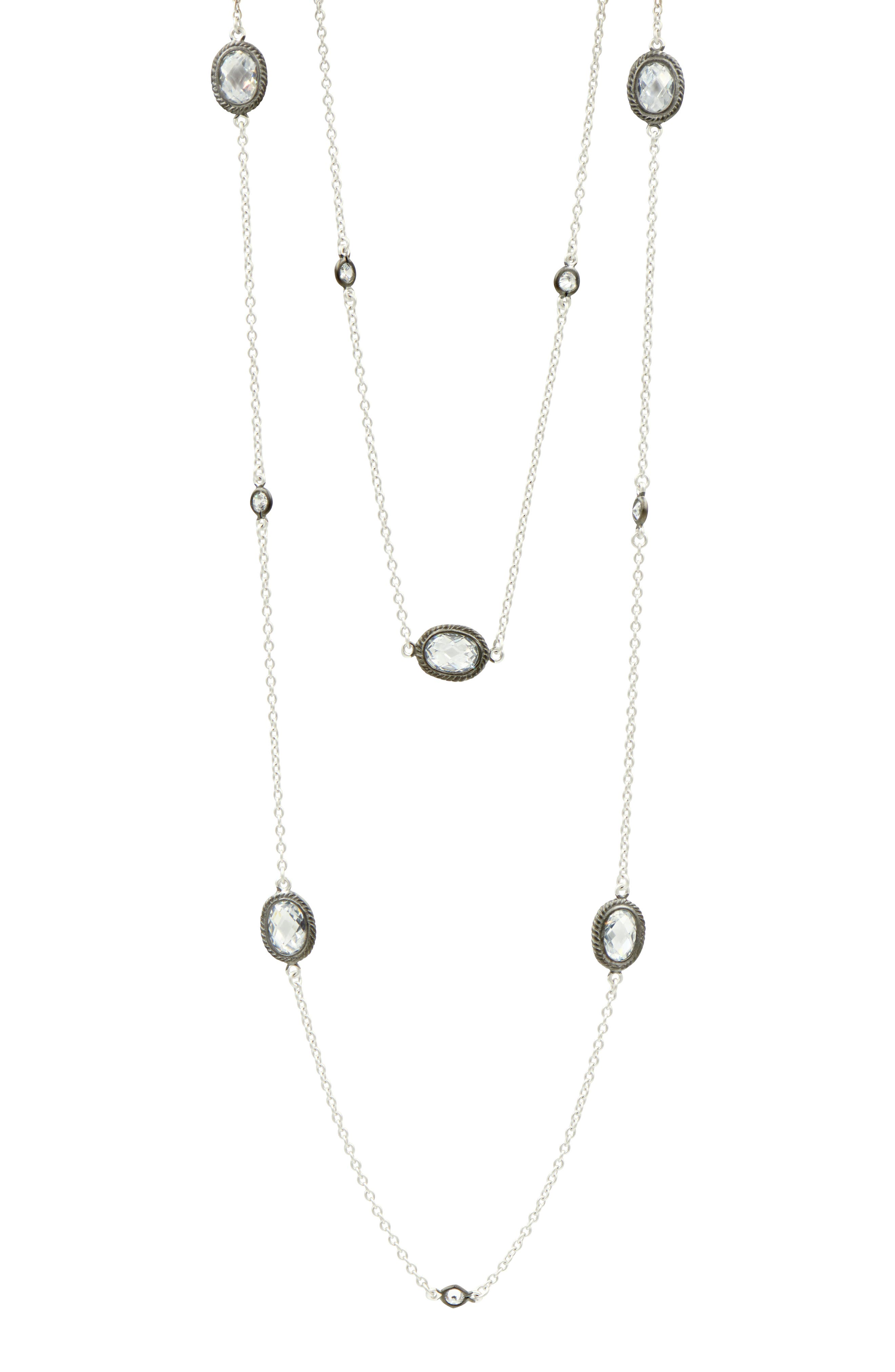 Signature Raindrop Station Necklace,                             Alternate thumbnail 2, color,                             Black/ Silver