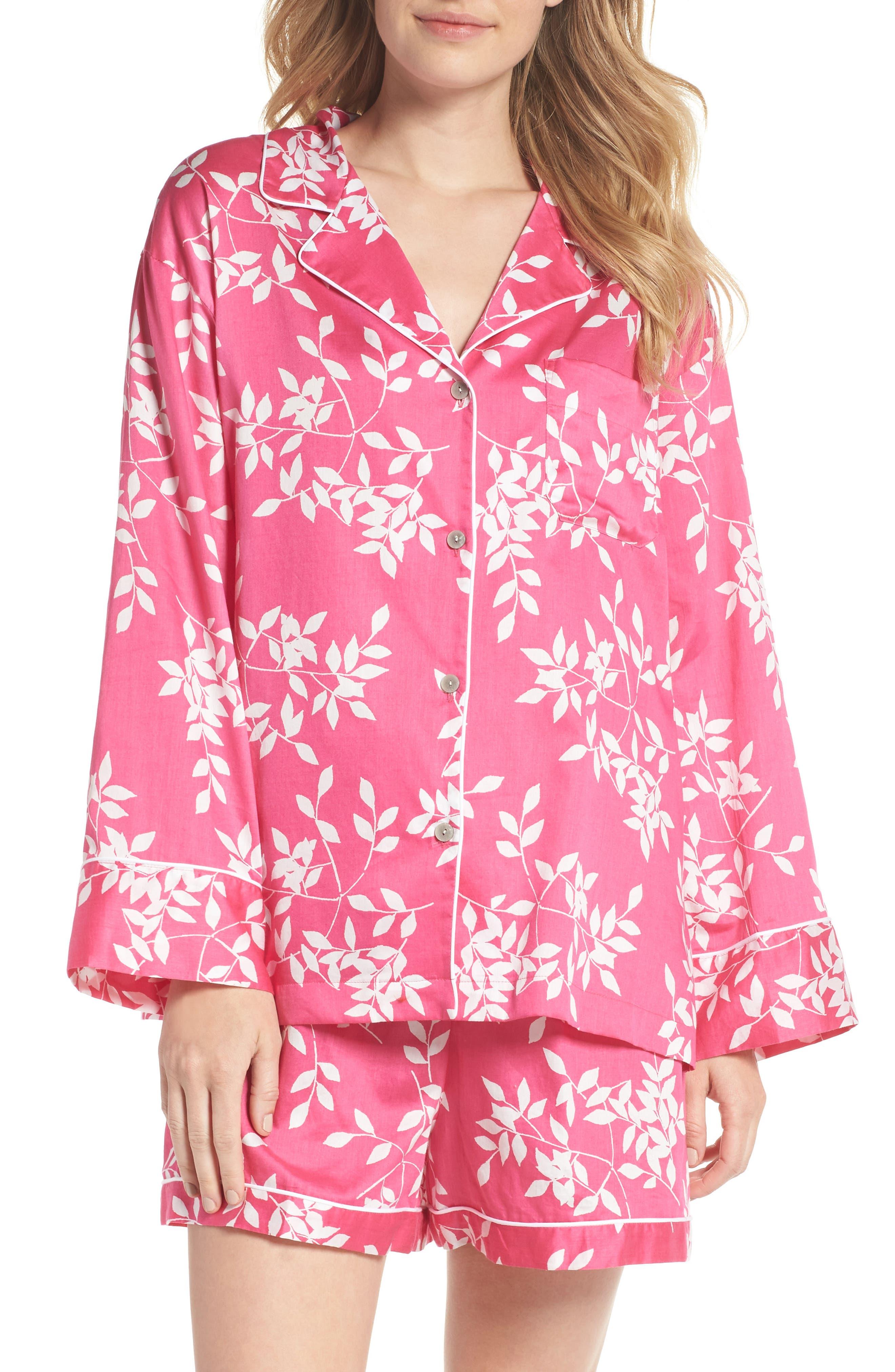 Branch Print Cotton Sateen Short Pajamas,                         Main,                         color, Hibiscus Pink