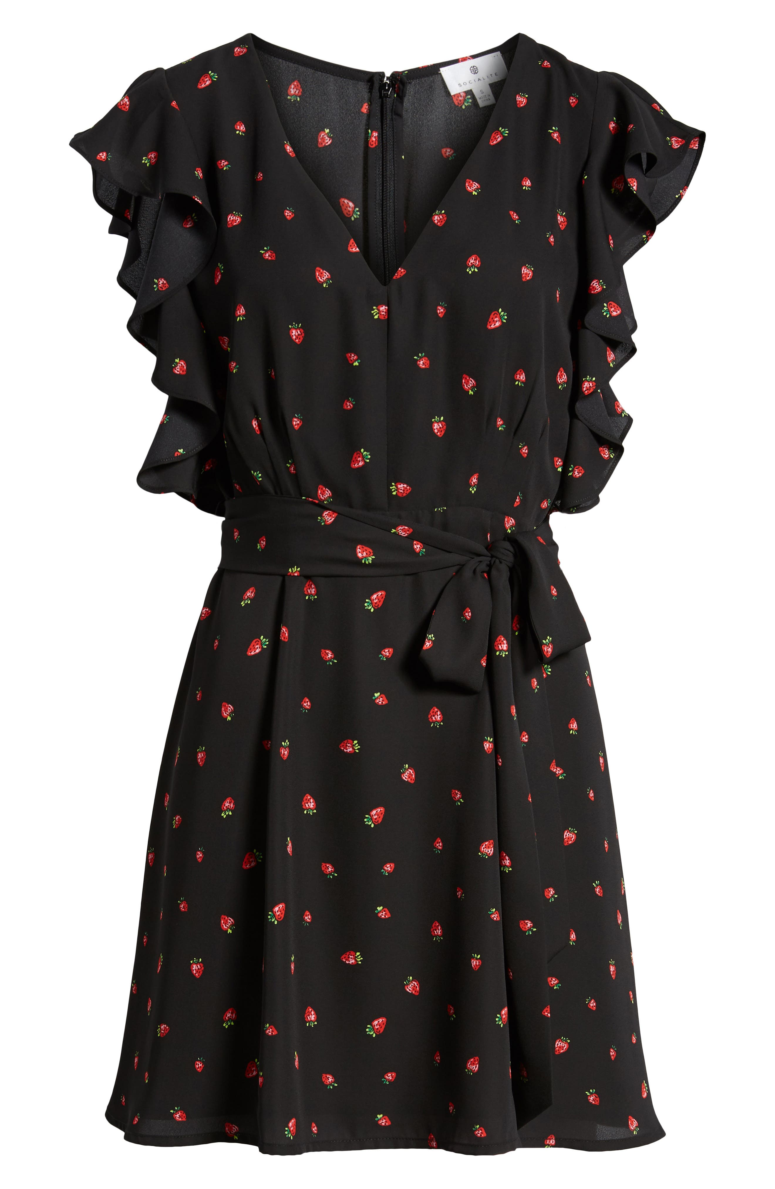 Ruffle Sleeve Dress,                             Alternate thumbnail 7, color,                             Strawberry Print