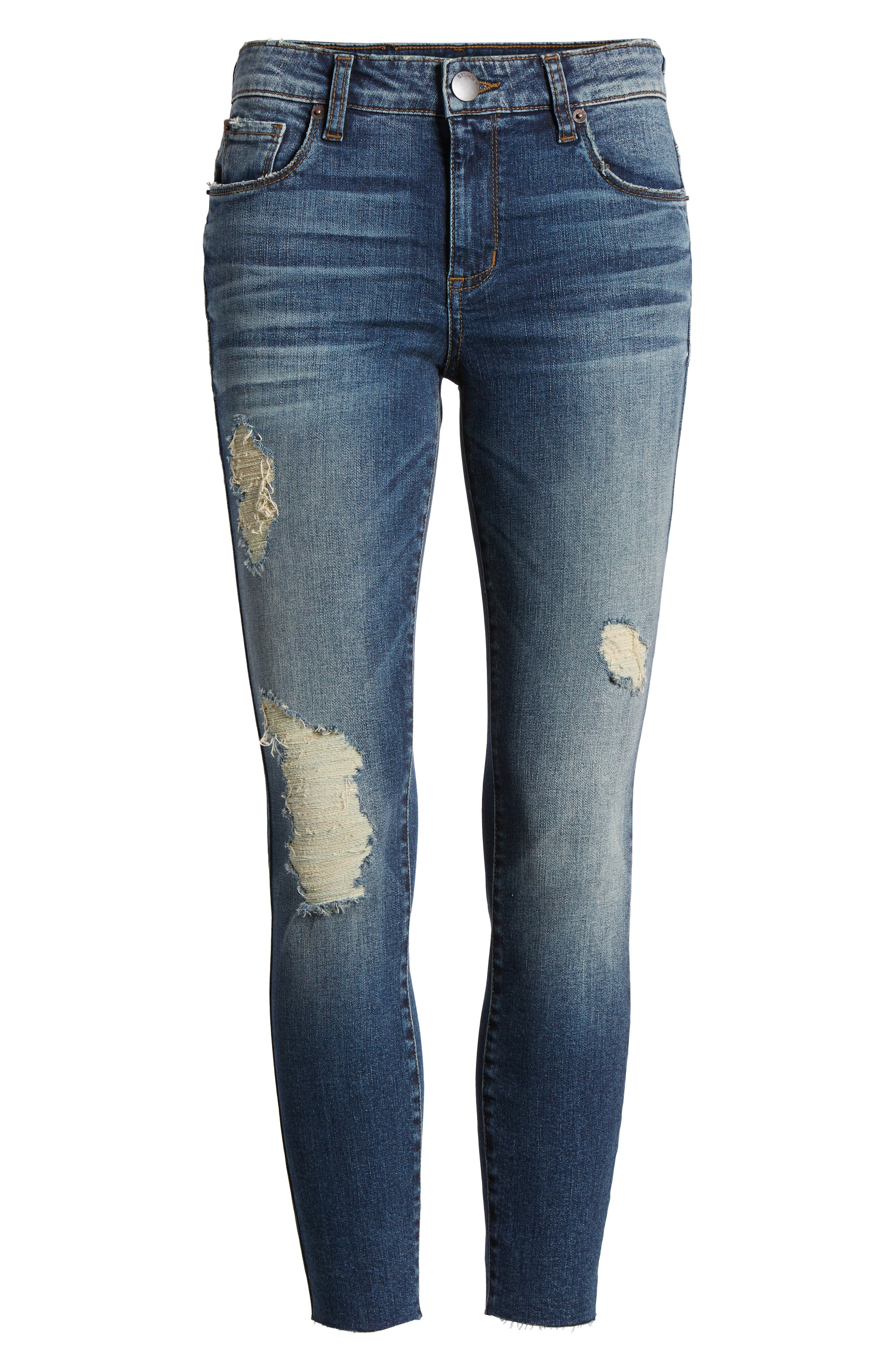 STS Blue Ripped Cutoff Crop Skinny Jeans,                             Alternate thumbnail 7, color,                             Flora W/ Dk Base