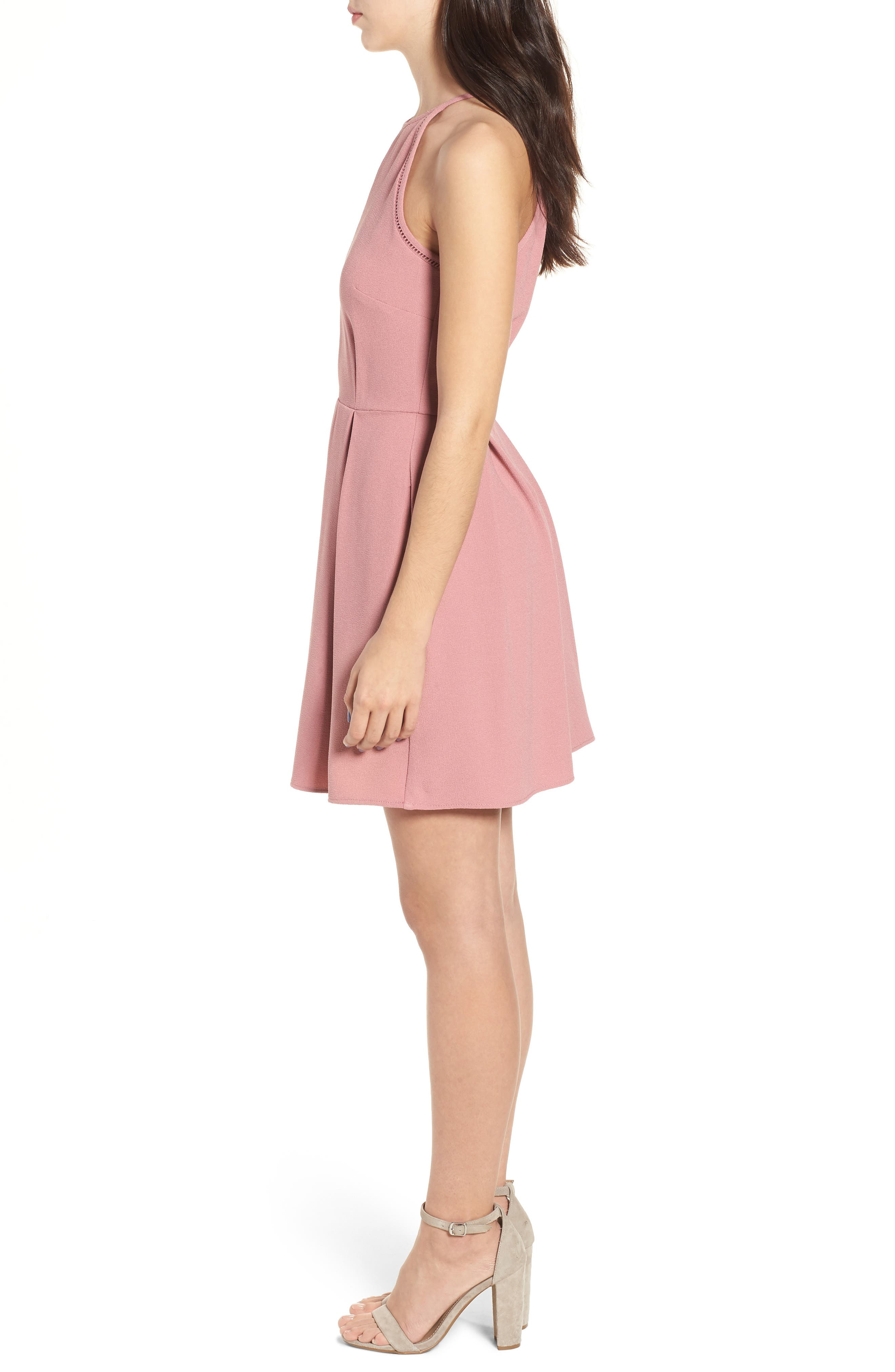 Lace Inset Fit & Flare Dress,                             Alternate thumbnail 3, color,                             Dark Rose