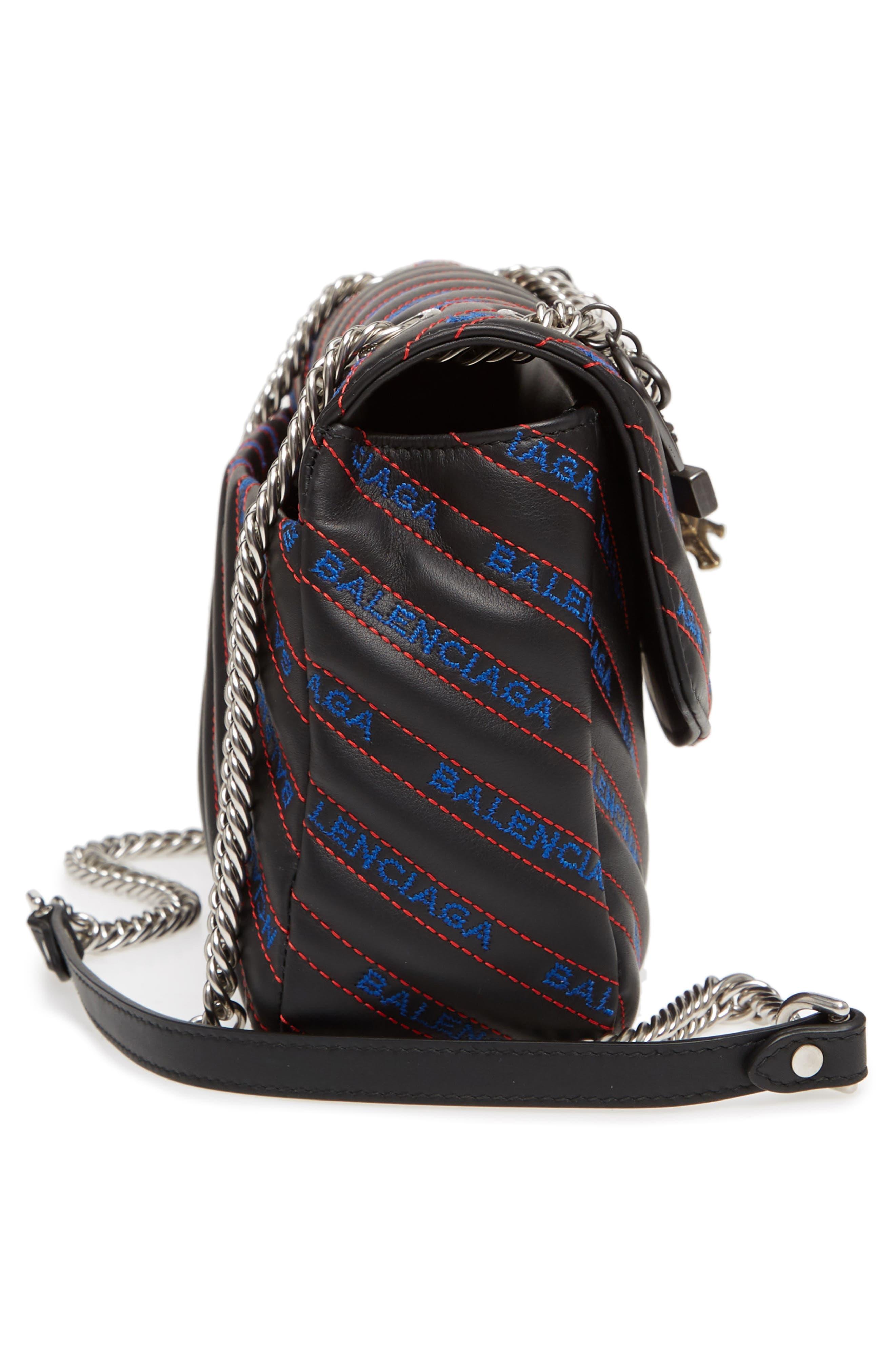 Medium BB Round Logo Charm Crossbody Bag,                             Alternate thumbnail 5, color,                             Noir/ Bleu/ Rouge