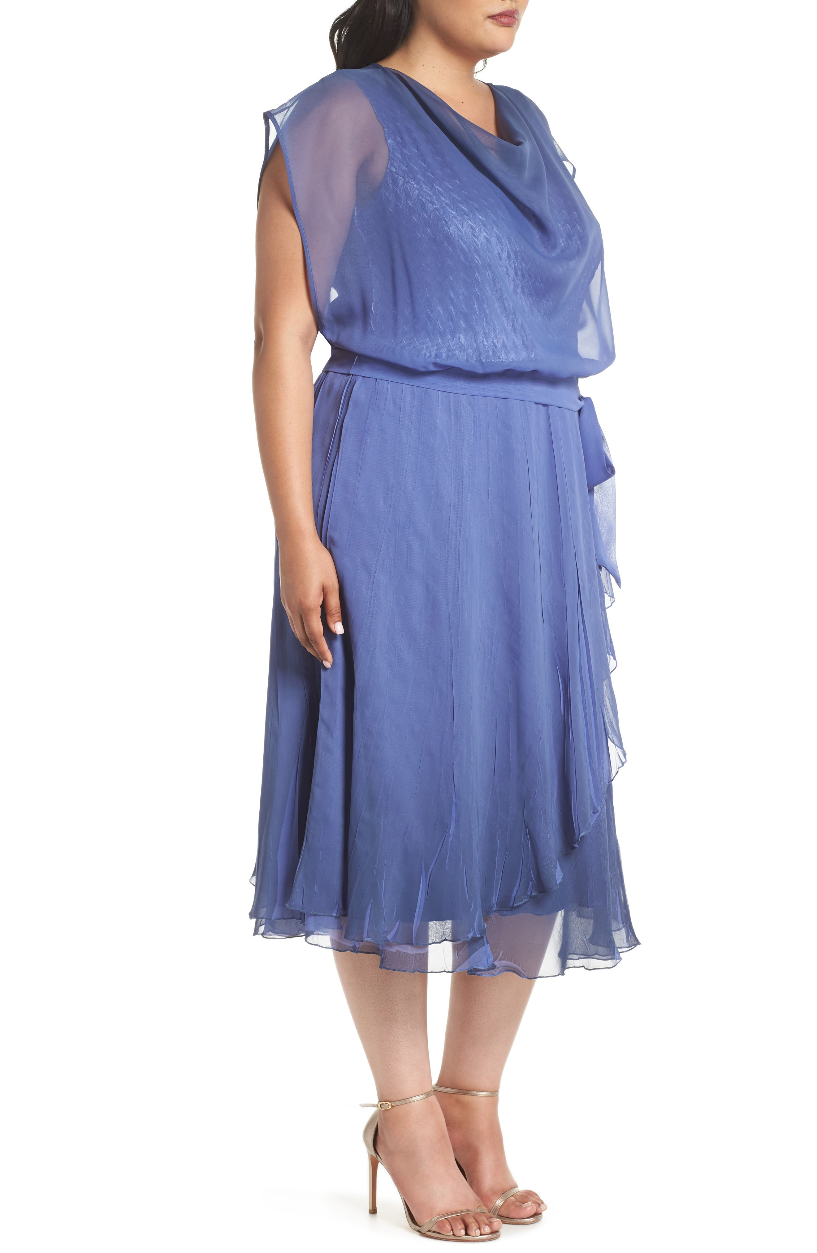 Charmeuse & Chiffon Blouson Dress,                             Alternate thumbnail 3, color,                             Fregatta Blue Ombre