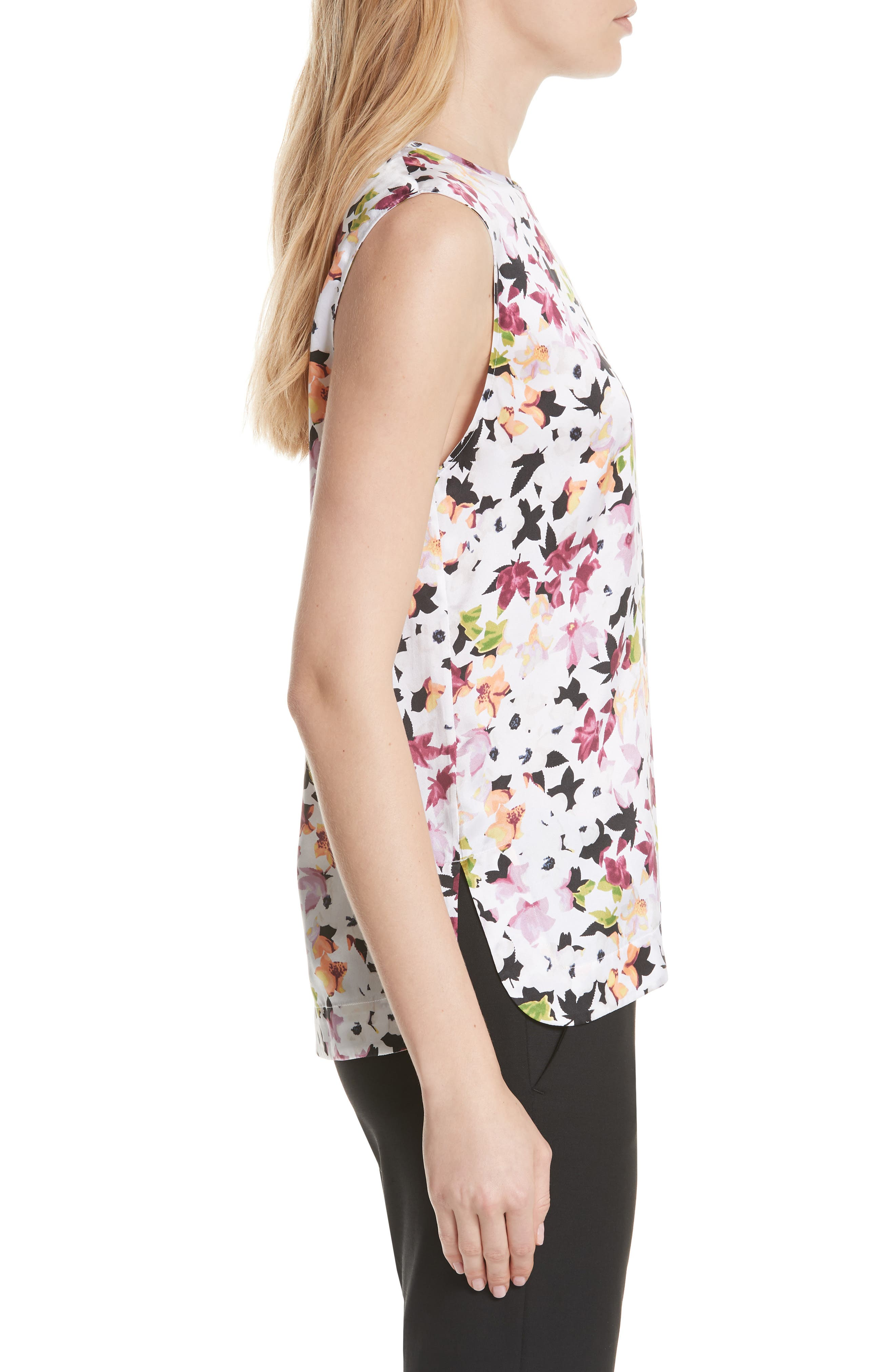 Layla Floral Silk Top,                             Alternate thumbnail 3, color,                             Bright White Multi