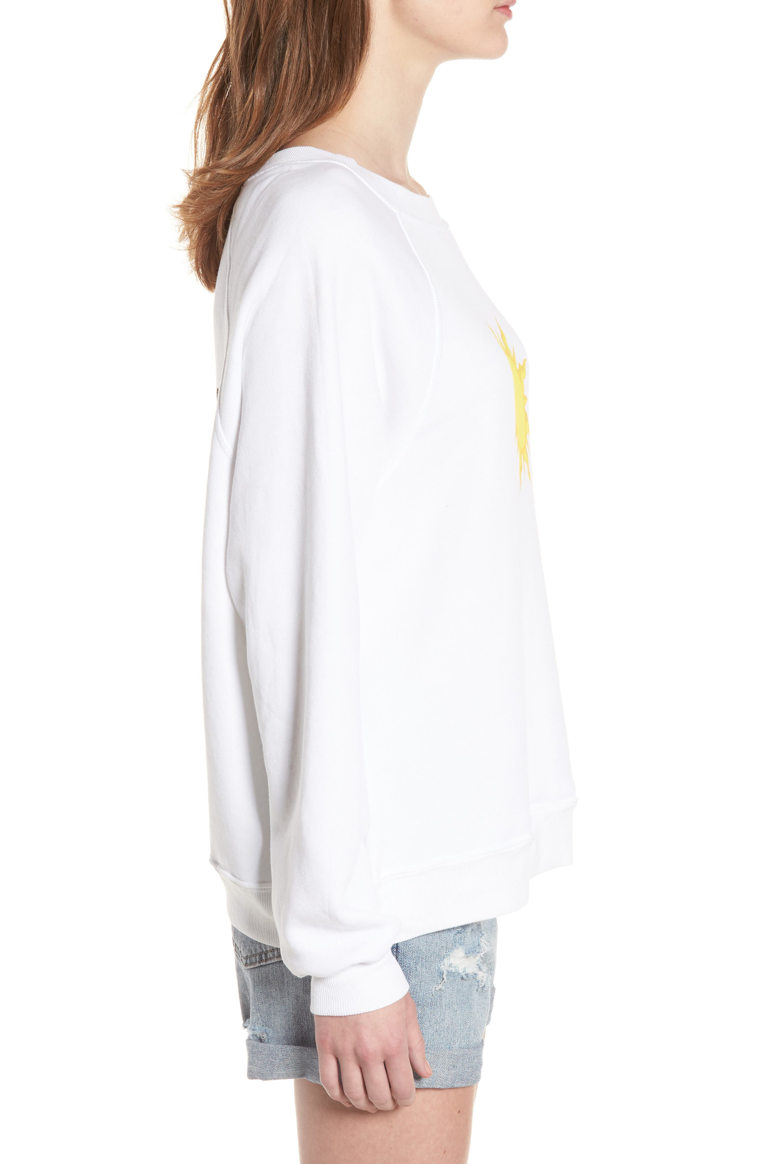Sunny Disposition Sommers Sweatshirt,                             Alternate thumbnail 3, color,                             Clean White