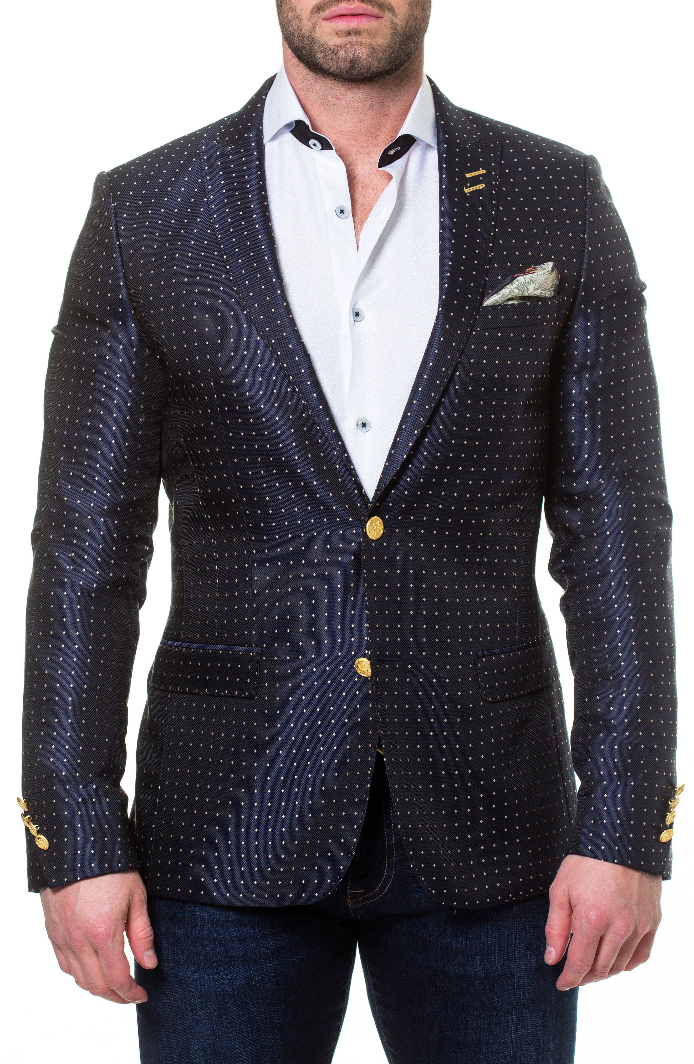 Descartes Dot Linen & Cotton Blend Sport Coat,                         Main,                         color, Blue