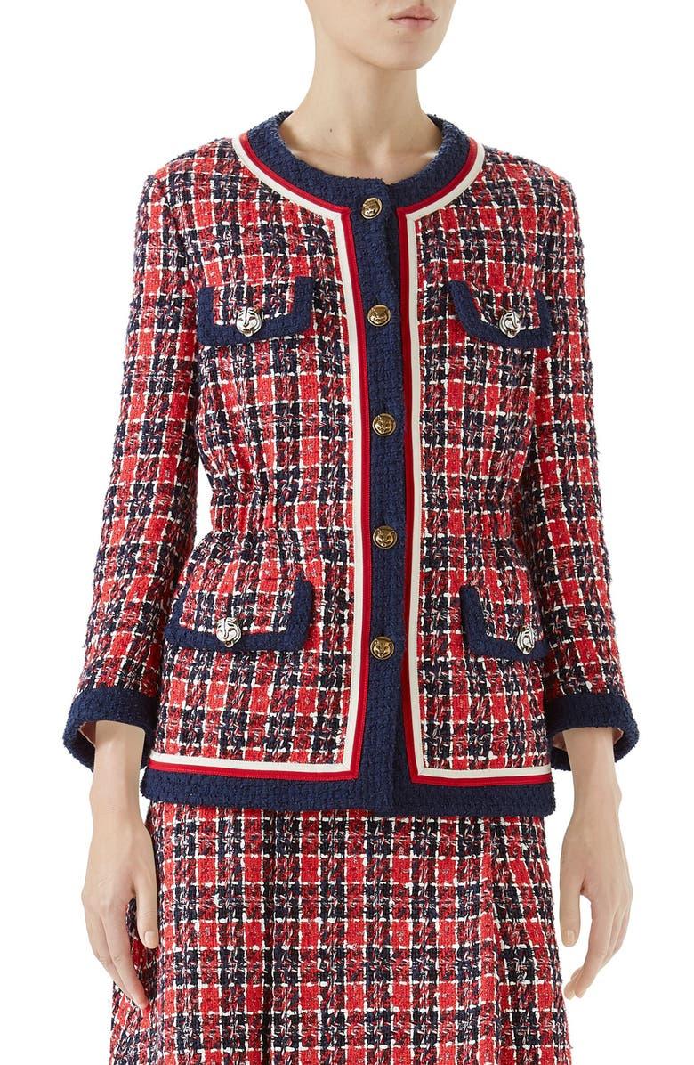 Cinch Waist Tweed Jacket