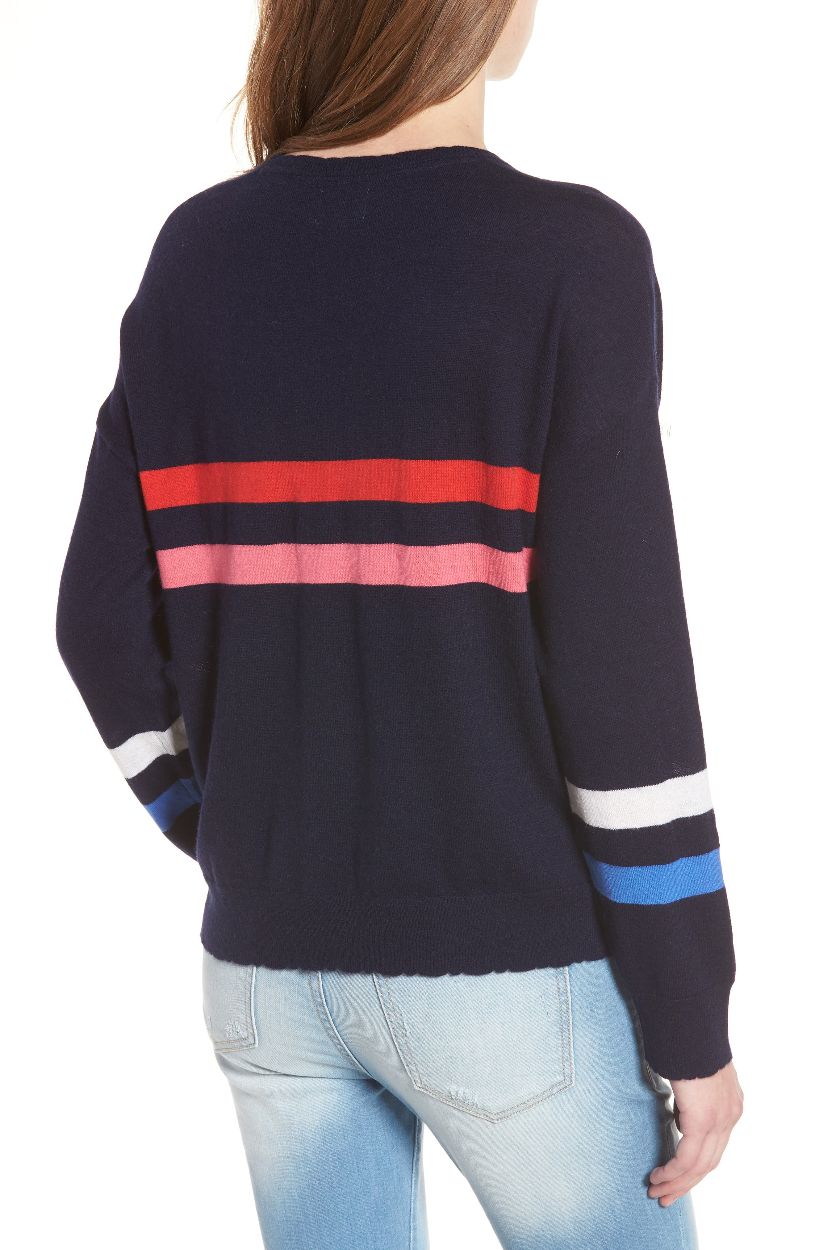 Stripe Wool & Cashmere Sweater,                             Alternate thumbnail 2, color,                             Navy
