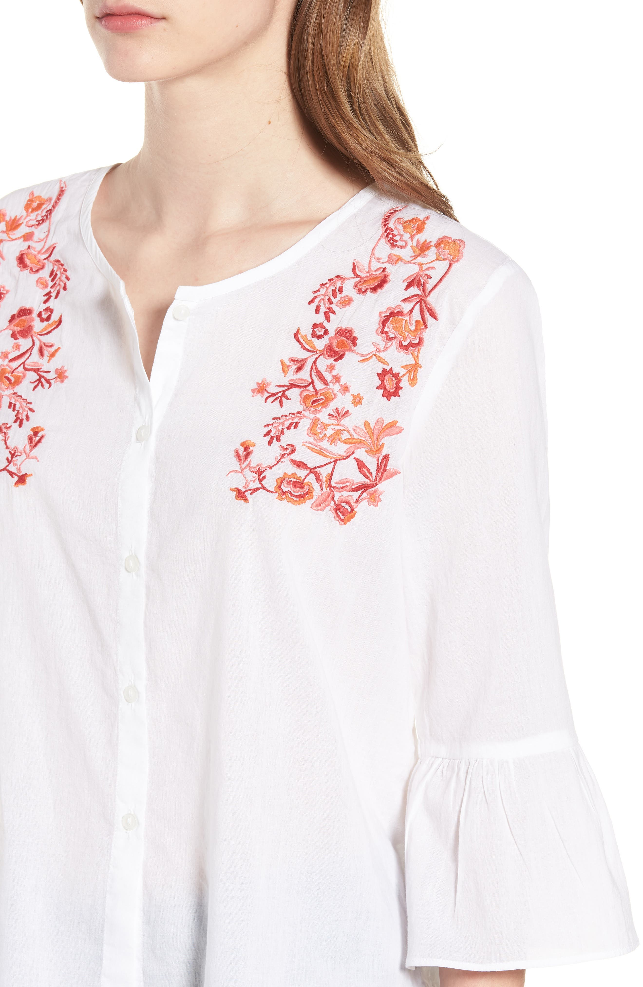 Embroidered Trumpet Sleeve Blouse,                             Alternate thumbnail 4, color,                             White