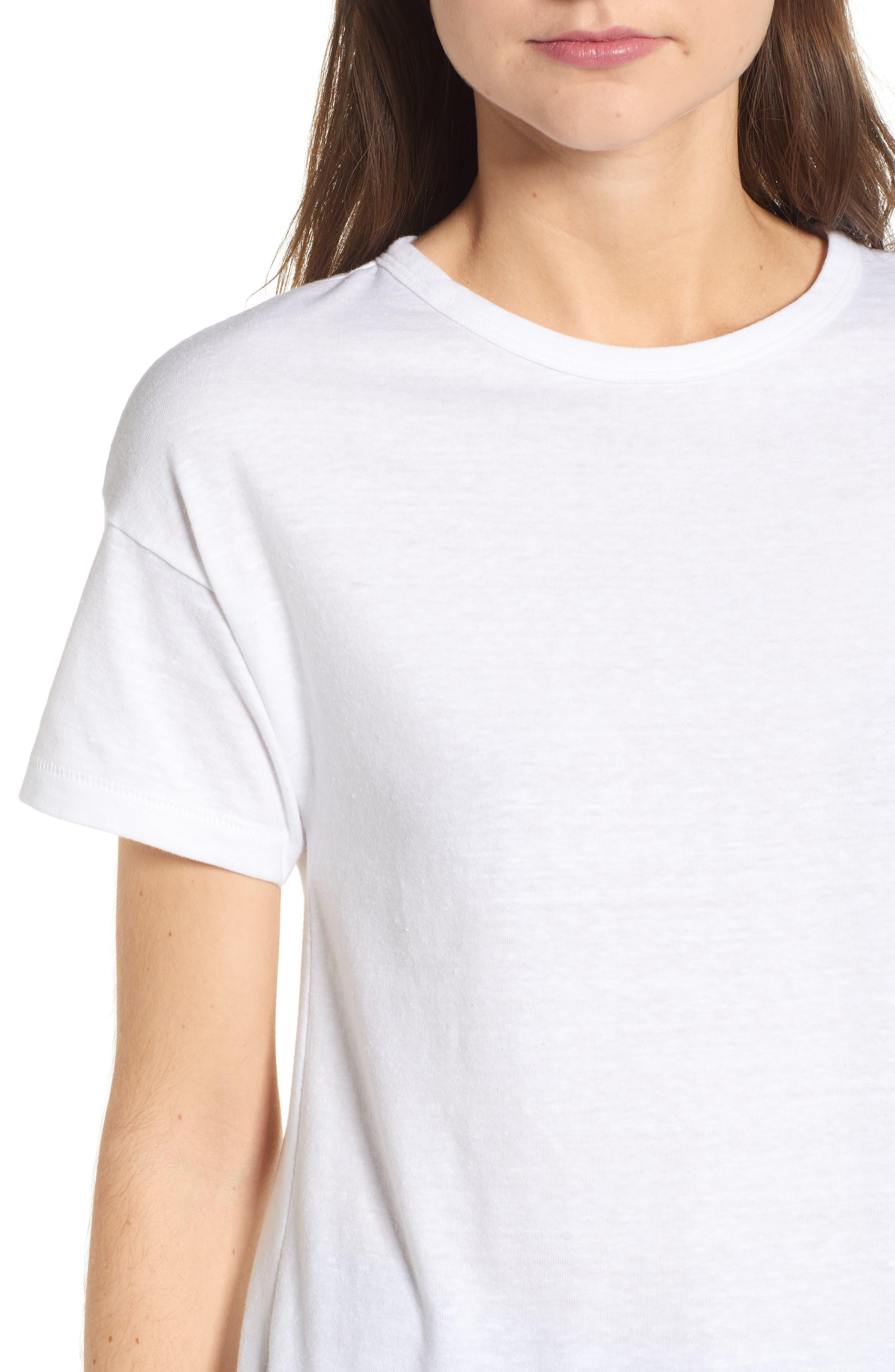 Short Sleeve Marl T-Shirt,                             Alternate thumbnail 4, color,                             White