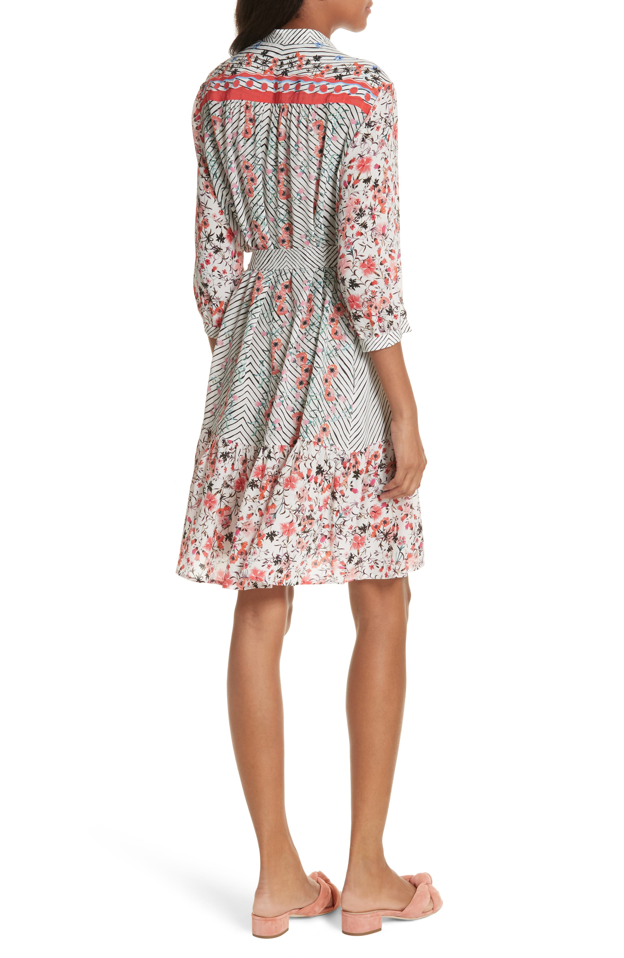 Tyra Print Silk Fit & Flare Dress,                             Alternate thumbnail 2, color,                             Peach Lace