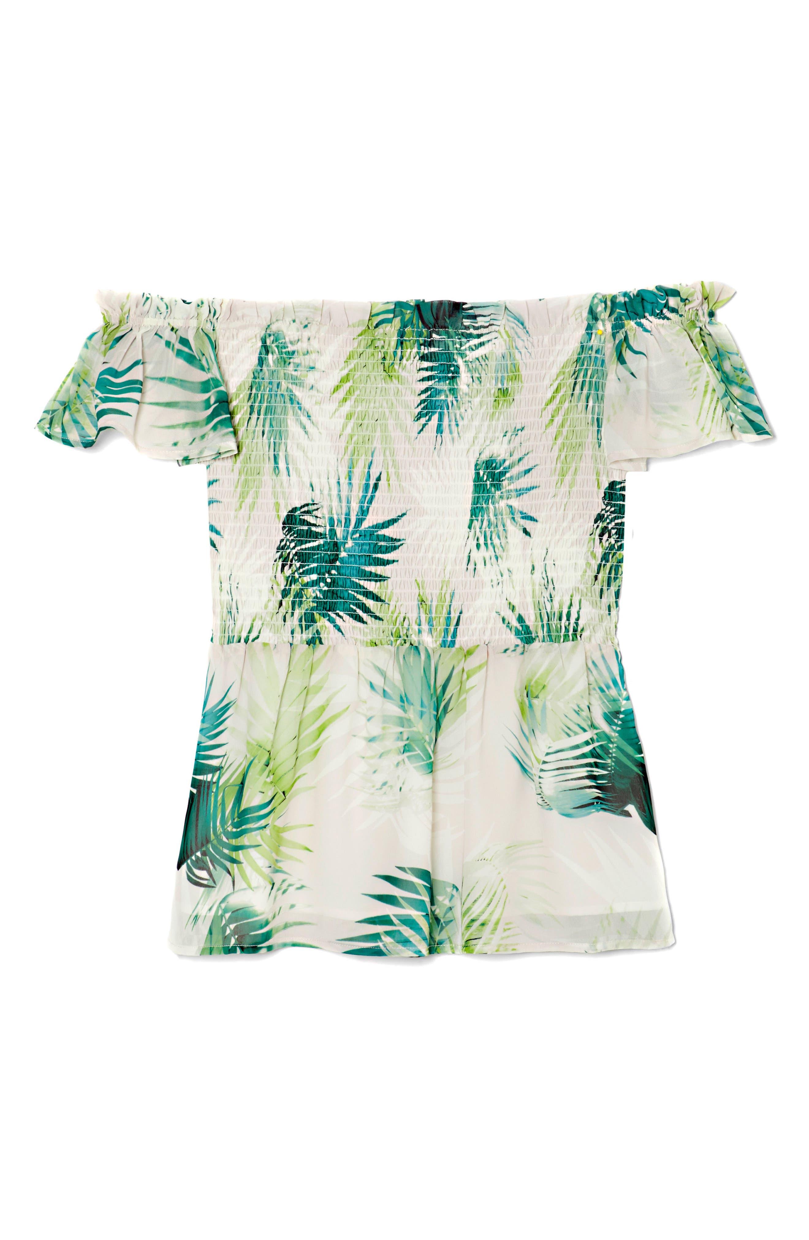 Sunlit Palm Off The Shoulder Top,                             Alternate thumbnail 3, color,                             Verdant Green