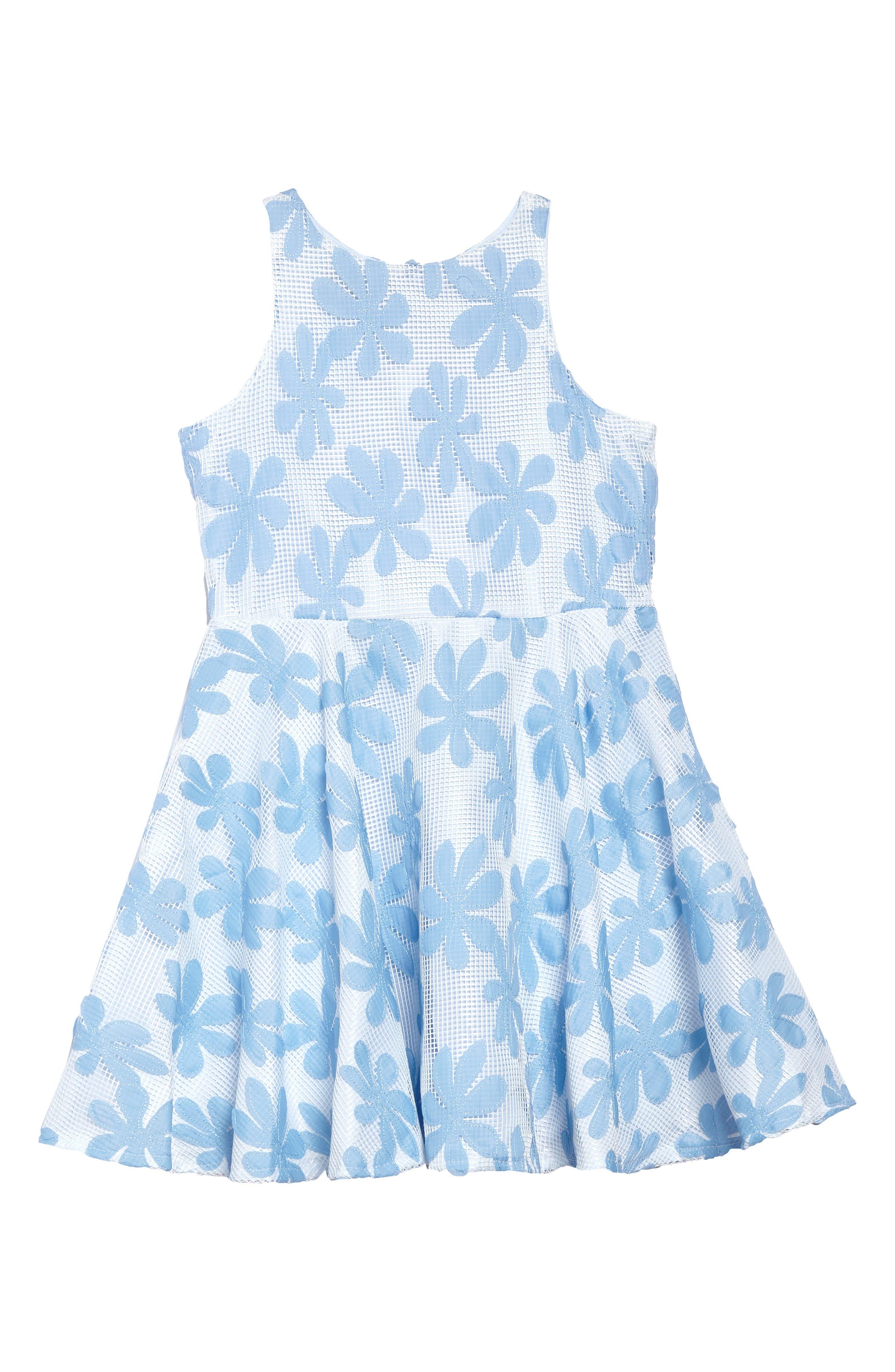 Daisy Appliqué Mesh Dress,                             Main thumbnail 1, color,                             White/ Blue