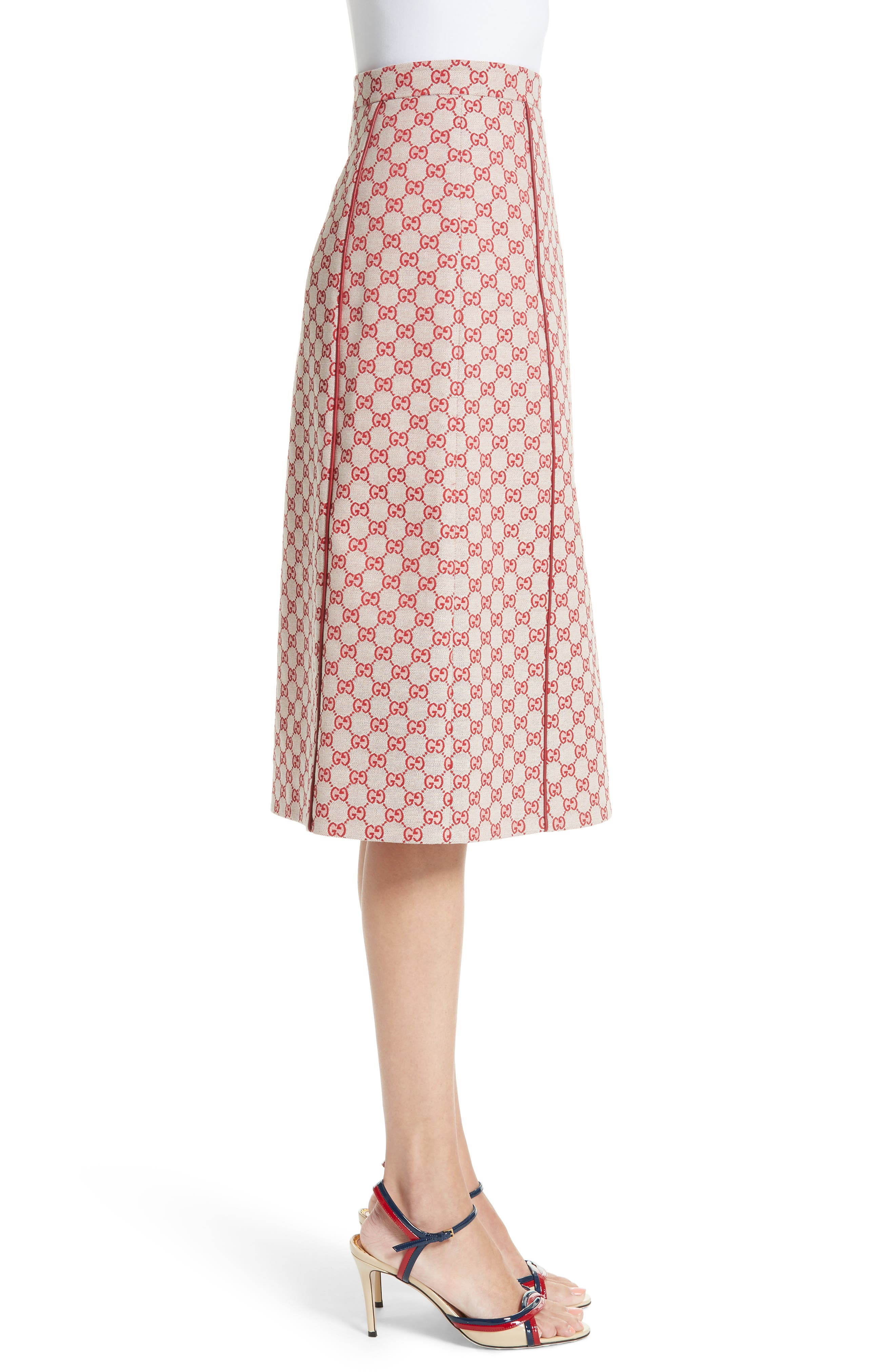 GG Print Canvas A-Line Skirt,                             Alternate thumbnail 3, color,                             Gardenia/ Hibiscus Red