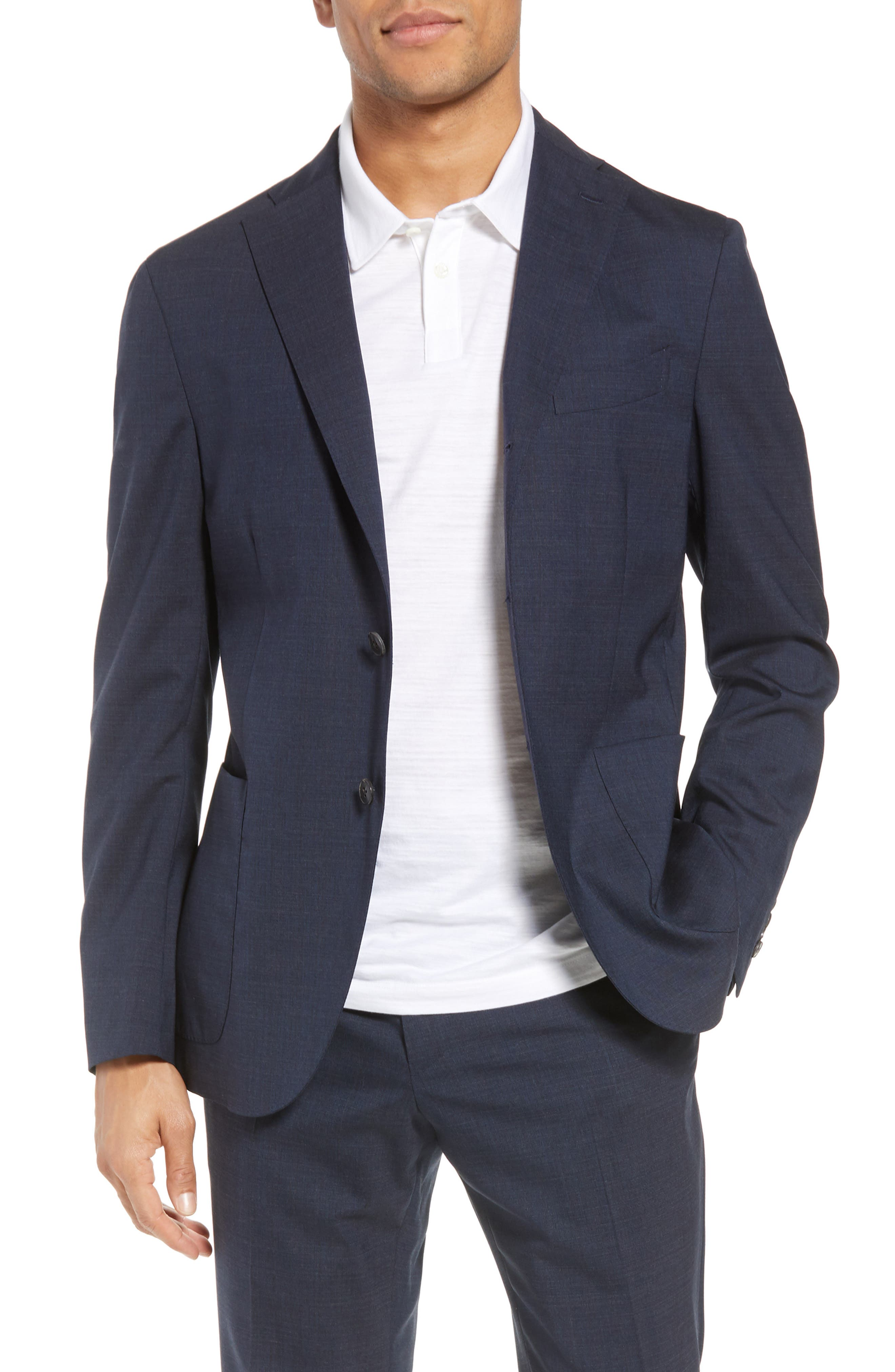 Trim Fit Stretch Solid Wool Suit,                             Alternate thumbnail 4, color,                             Navy