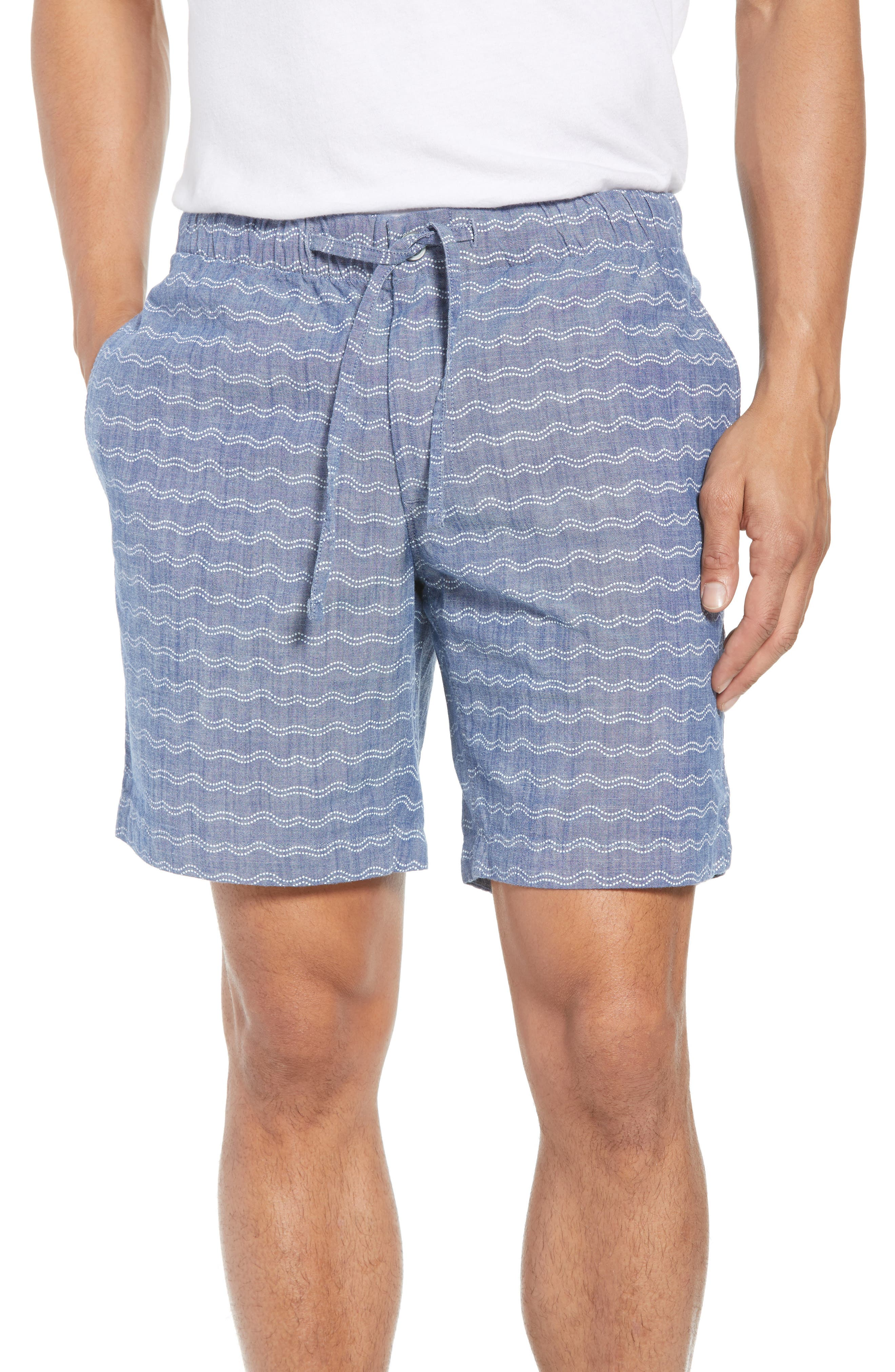 Print Beach Shorts,                             Main thumbnail 1, color,                             Wave Dot Chambray
