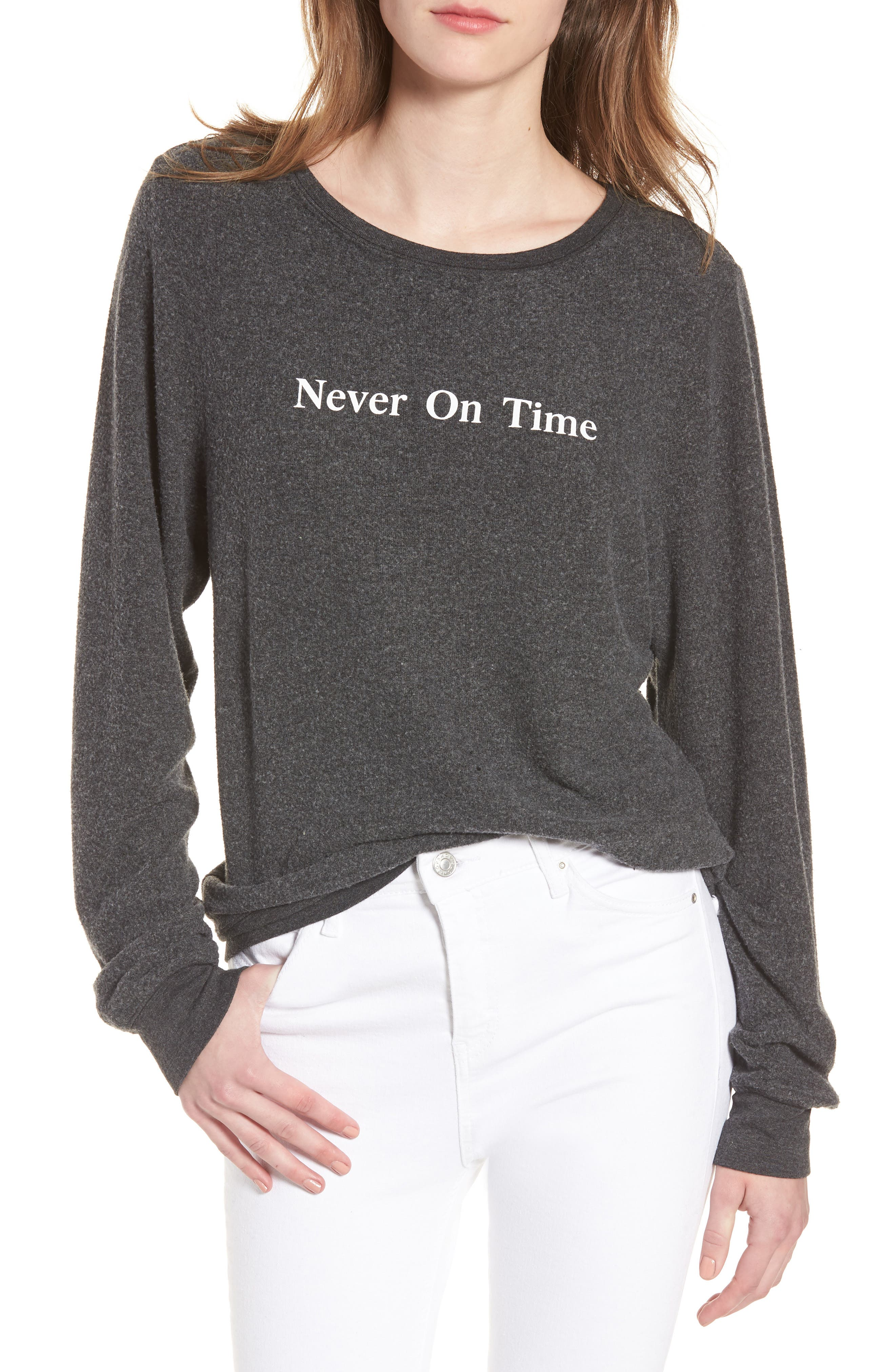 Never on Time Baggy Beach Jumper Pullover,                             Main thumbnail 1, color,                             Black