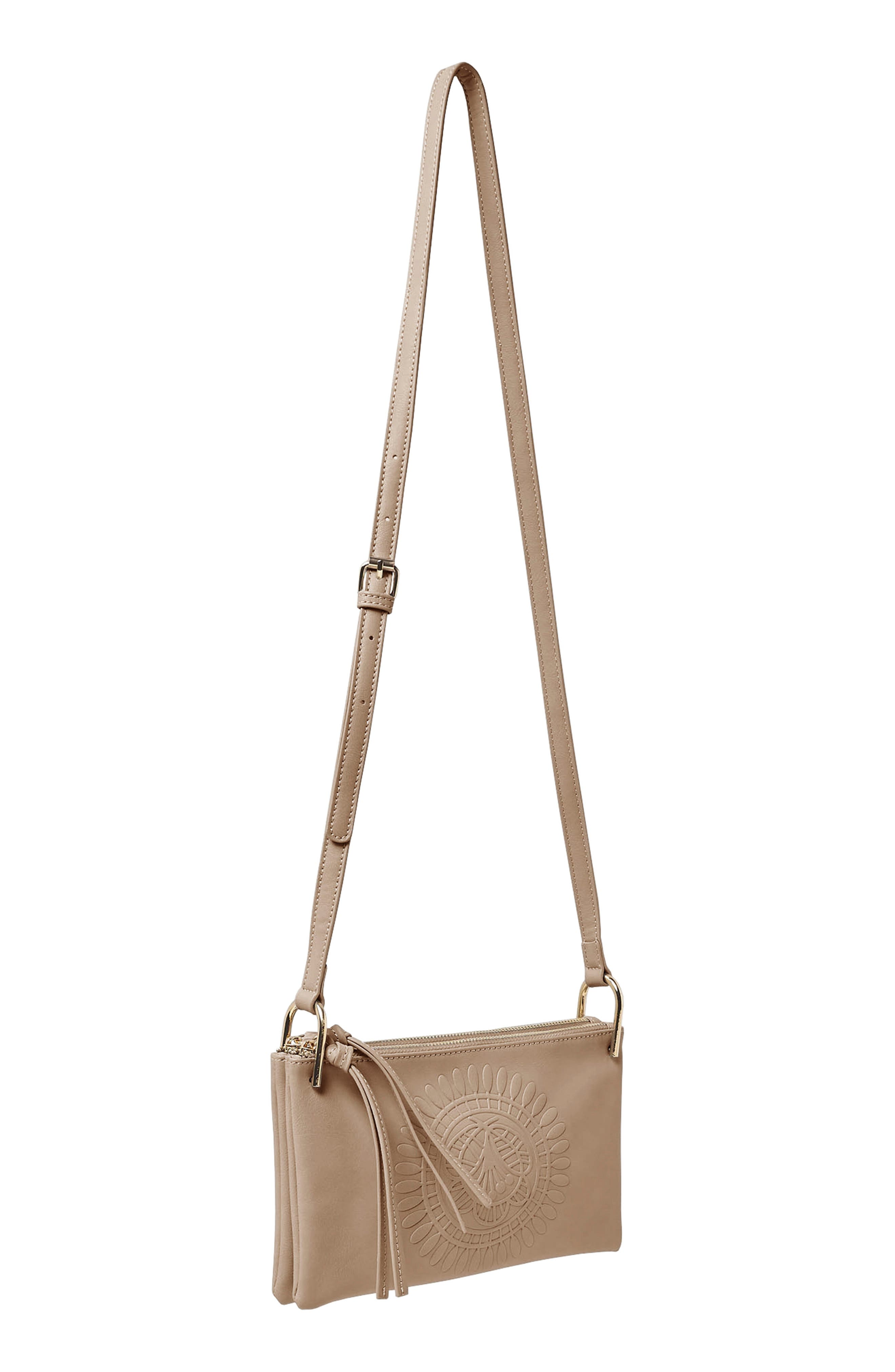 Flower Vegan Leather Crossbody Bag,                             Alternate thumbnail 3, color,                             Taupe