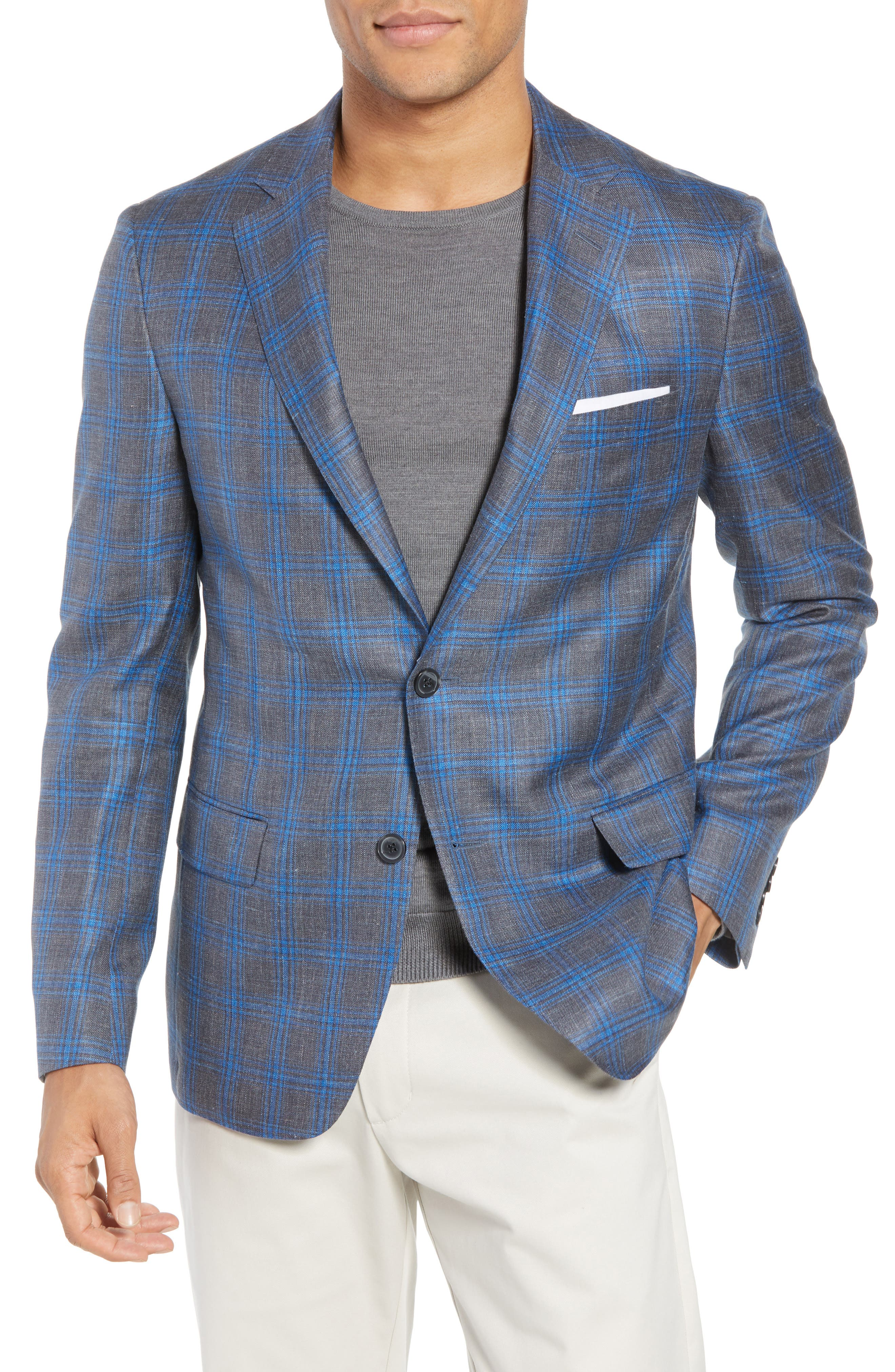 Samuelsohn Garner Classic Fit Plaid Wool Blend Sport Coat
