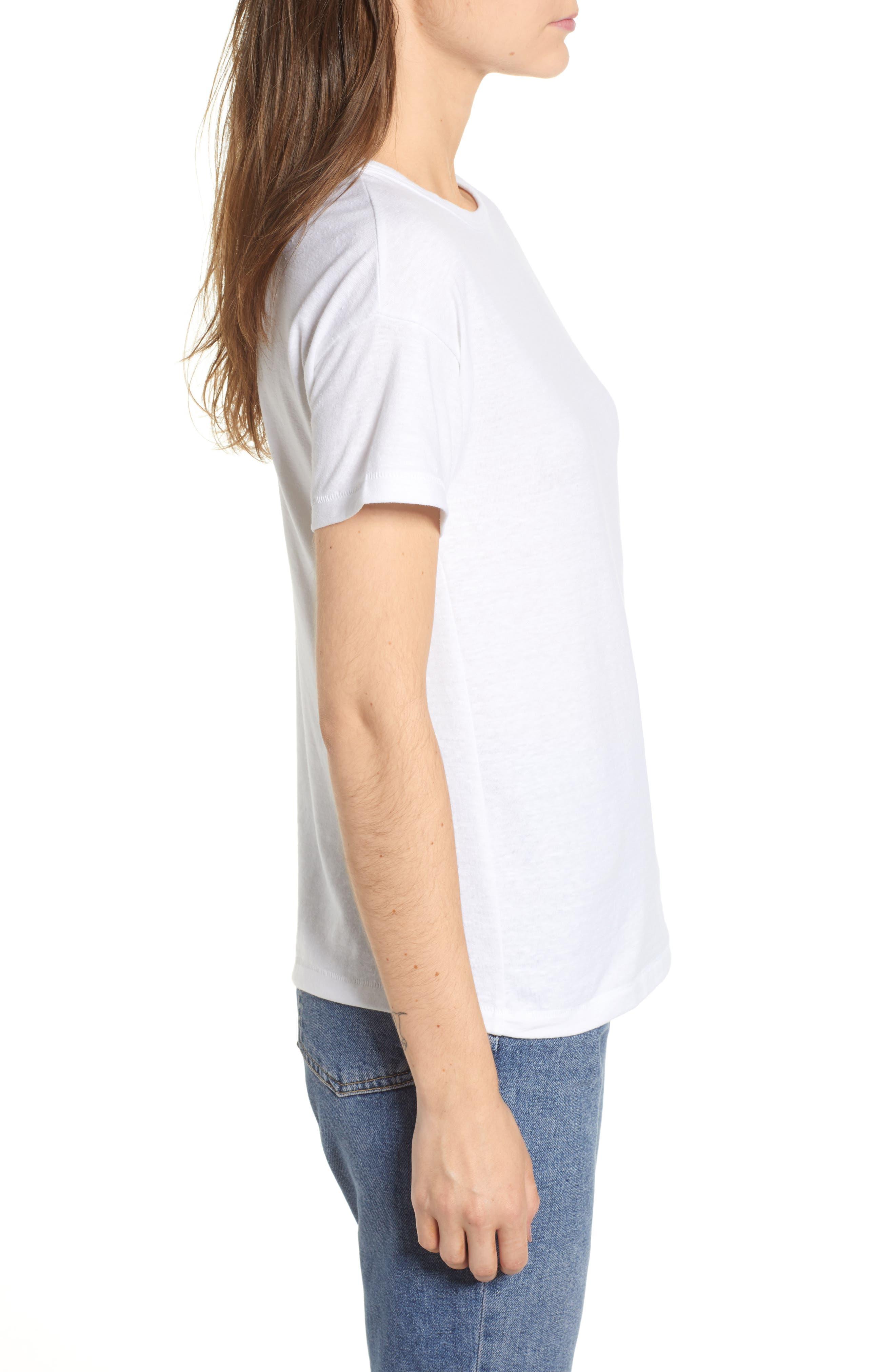 Short Sleeve Marl T-Shirt,                             Alternate thumbnail 3, color,                             White