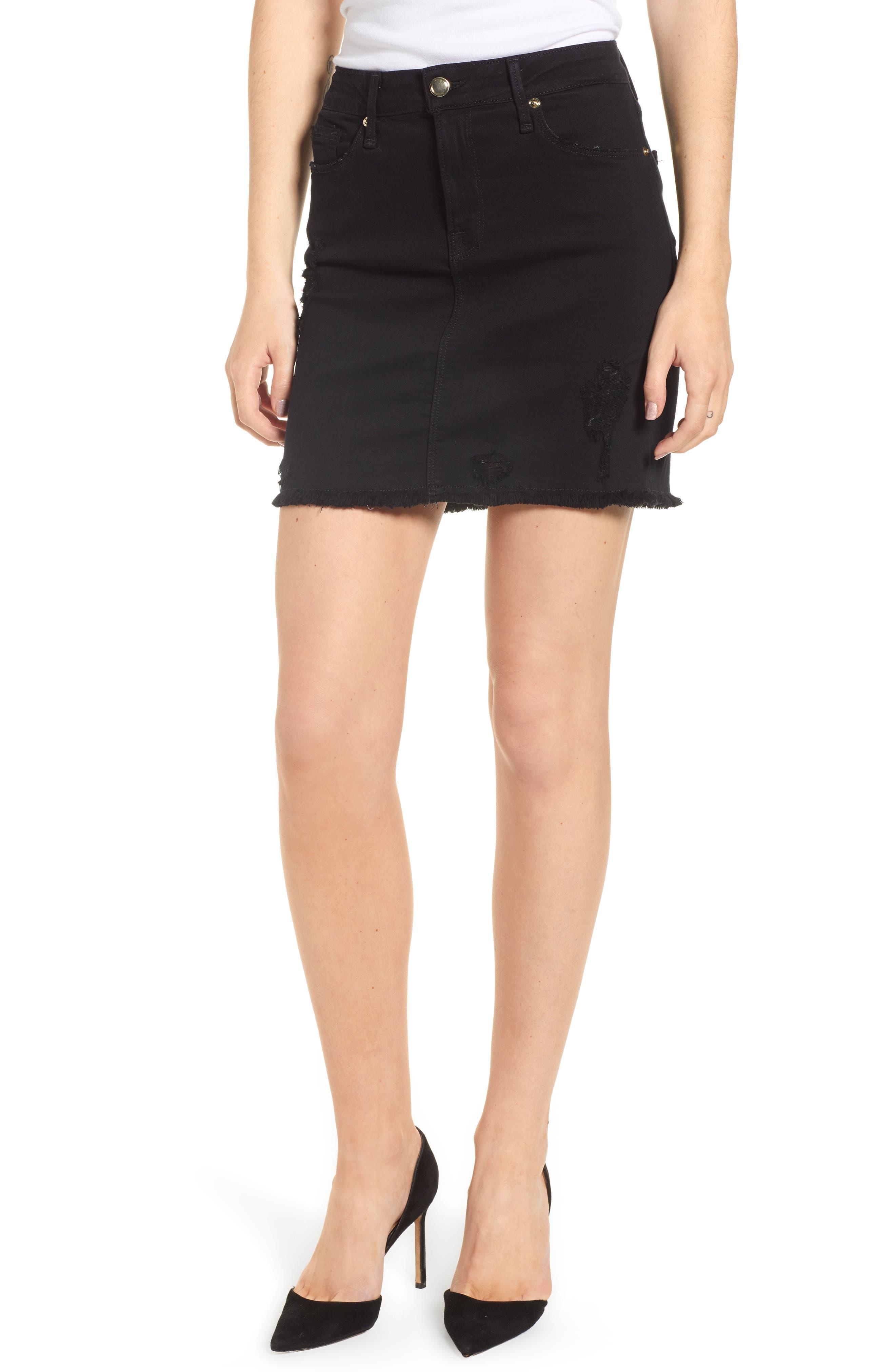 Good American Raw Edge Denim Miniskirt (Regular & Plus Size)
