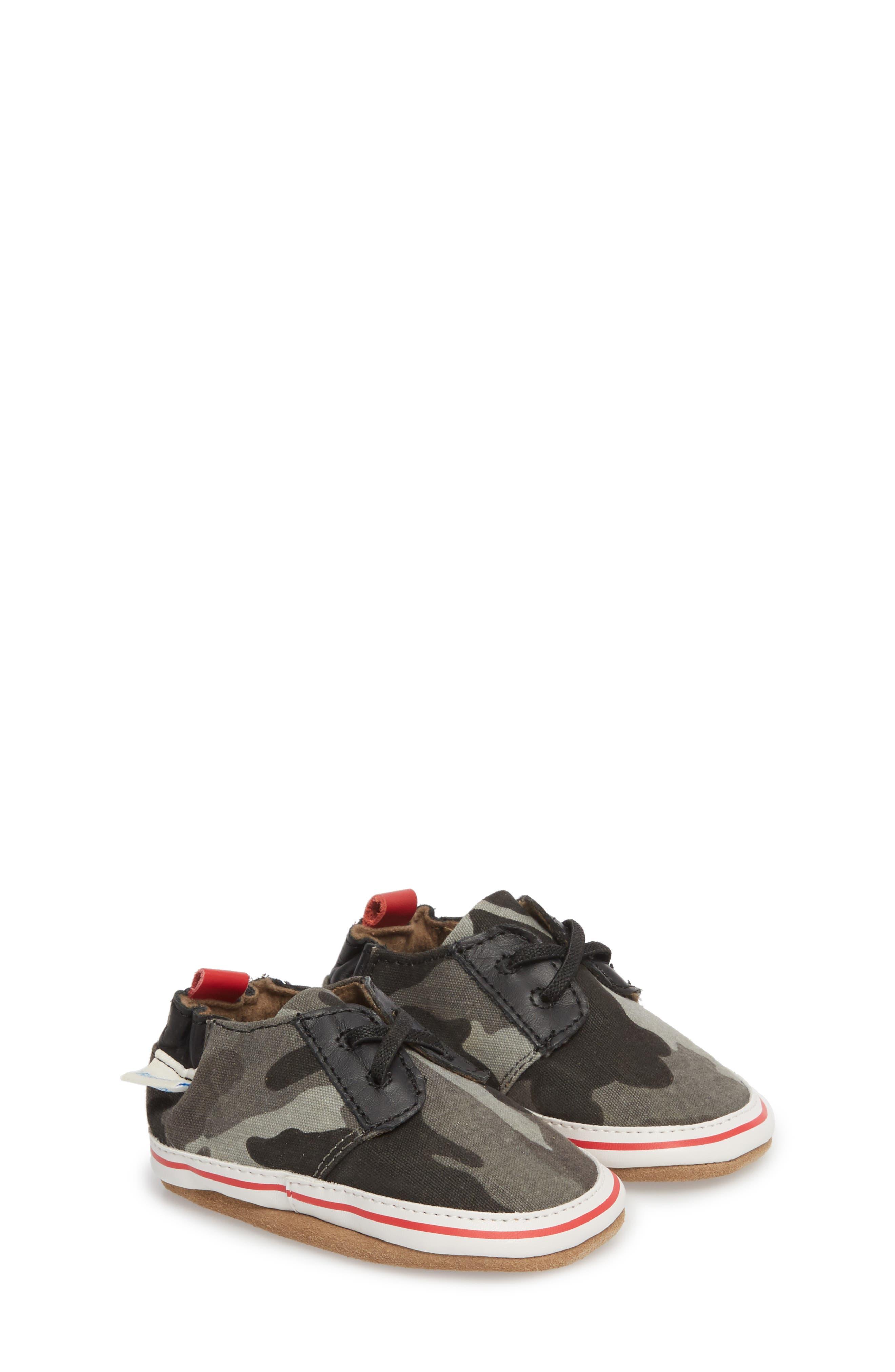 Cool & Casual Camo Print Crib Shoe,                             Main thumbnail 1, color,                             Grey