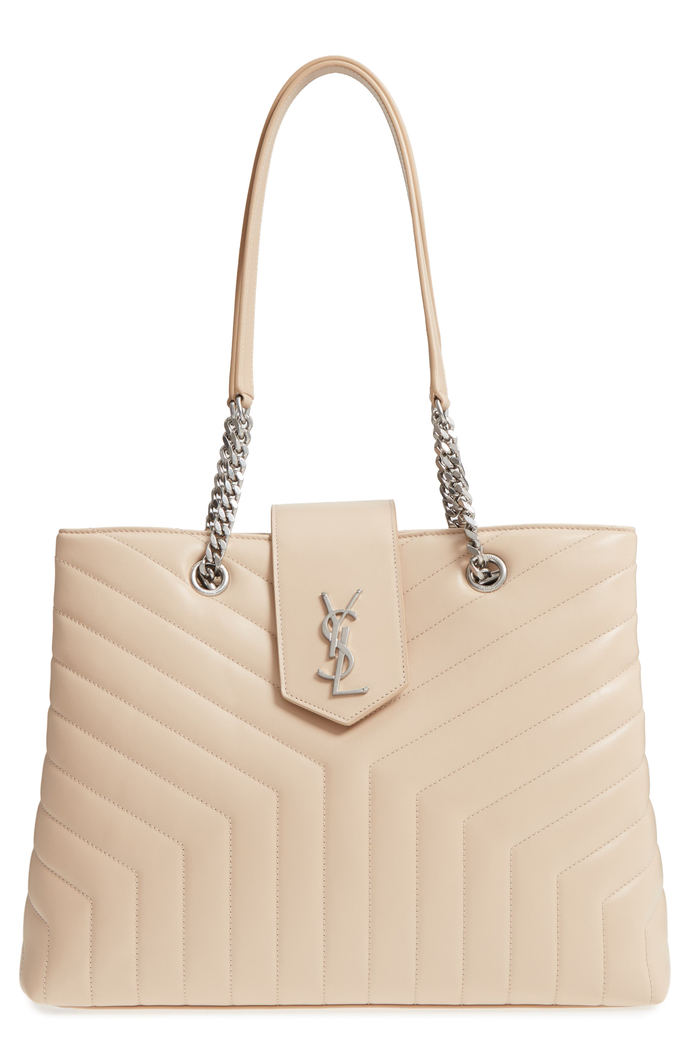 Large Loulou Matelassé Leather Shopper,                             Main thumbnail 1, color,                             Nude Powder/ Nude Powder