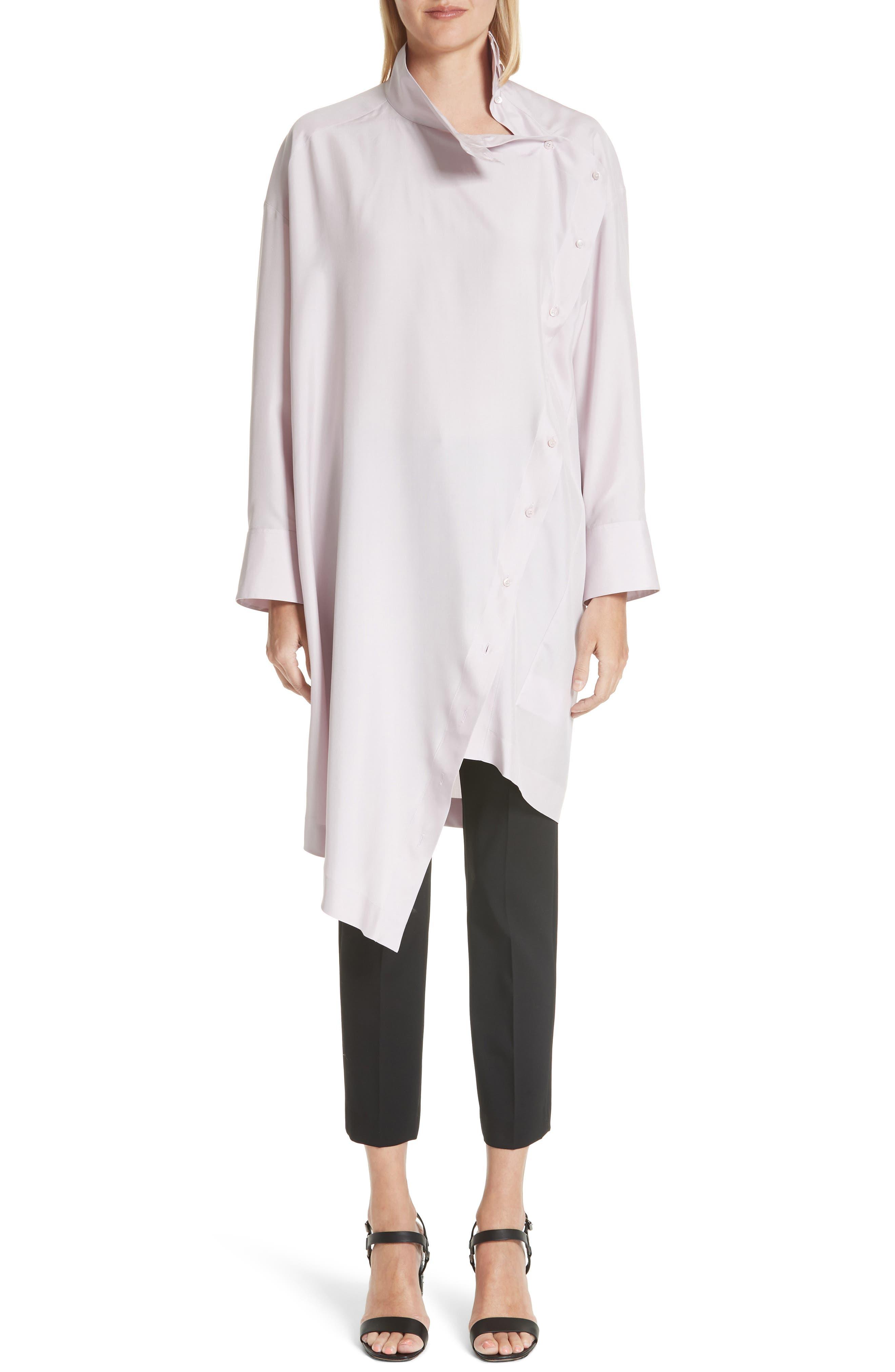 Tie Neck Silk Dress,                             Alternate thumbnail 4, color,                             Lilac