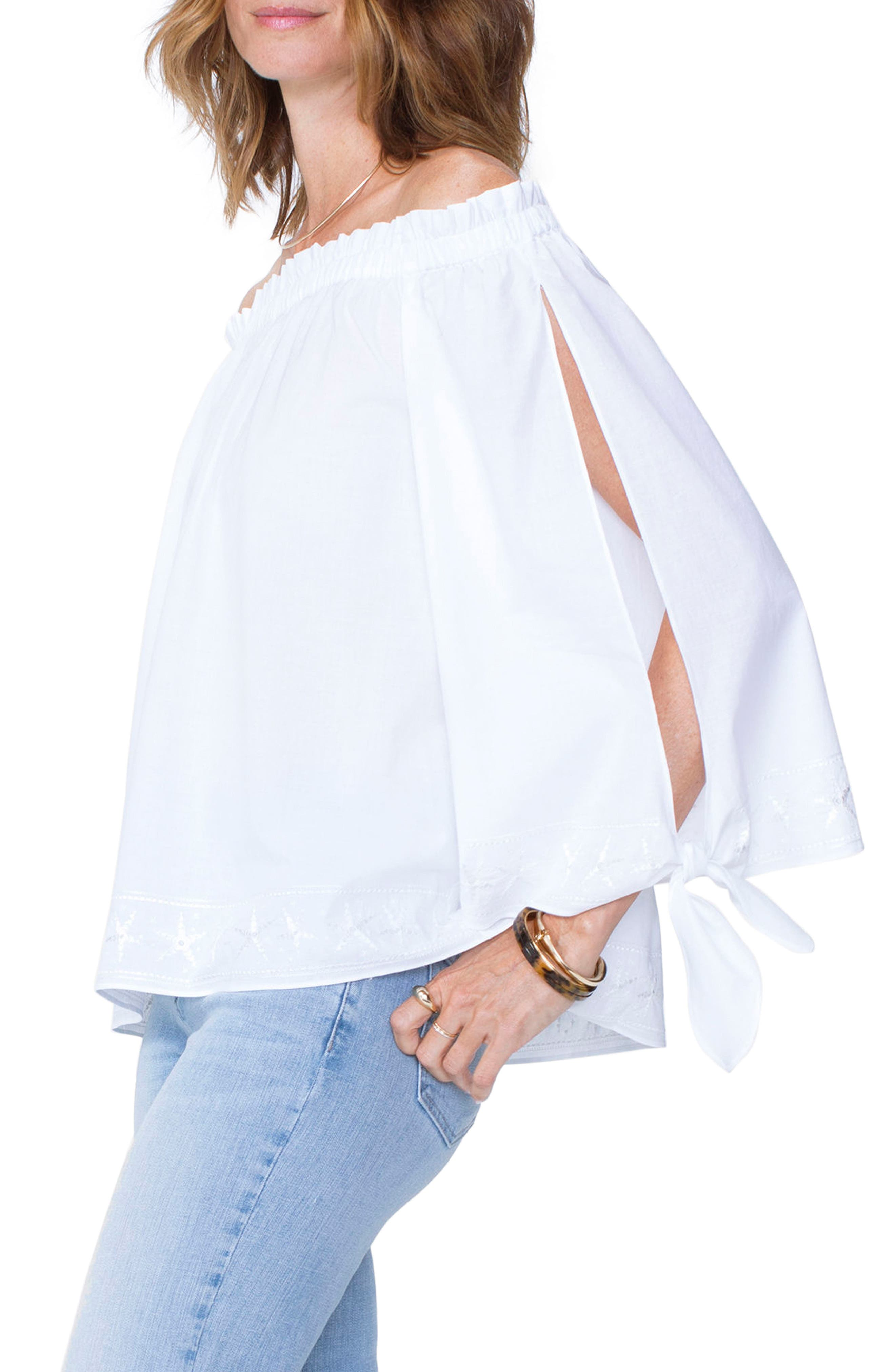 Tie Sleeve Off the Shoulder Top,                             Alternate thumbnail 3, color,                             Optic White