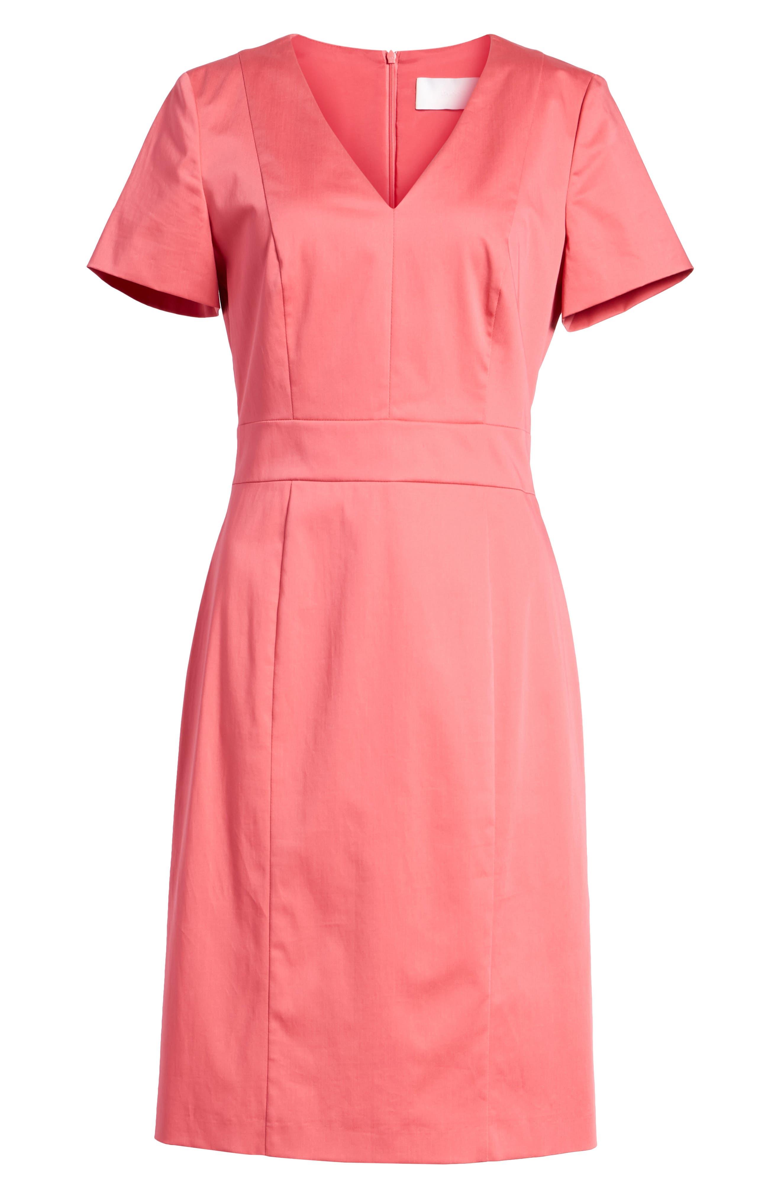Dasali V-Neck Sheath Dress,                             Alternate thumbnail 7, color,                             Lychee Pink