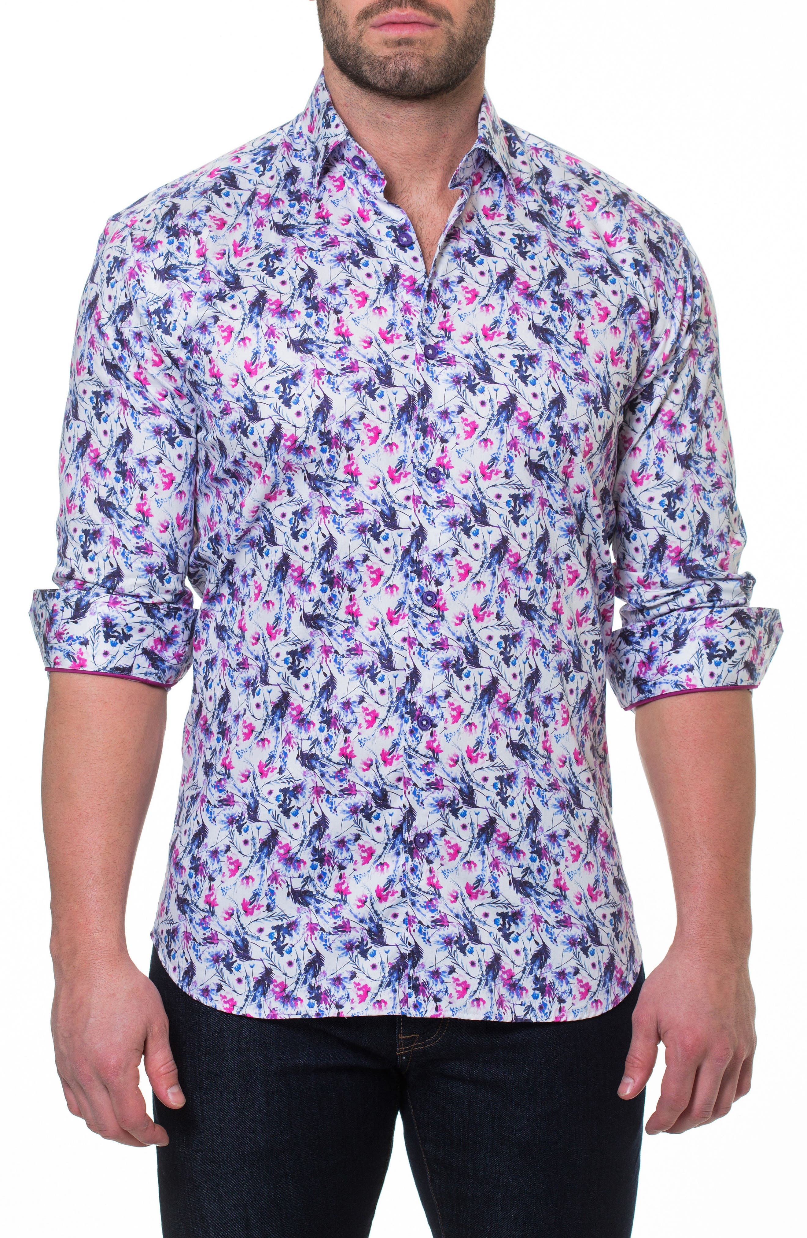 Luxor Home Slim Fit Sport Shirt,                             Alternate thumbnail 3, color,                             Pink