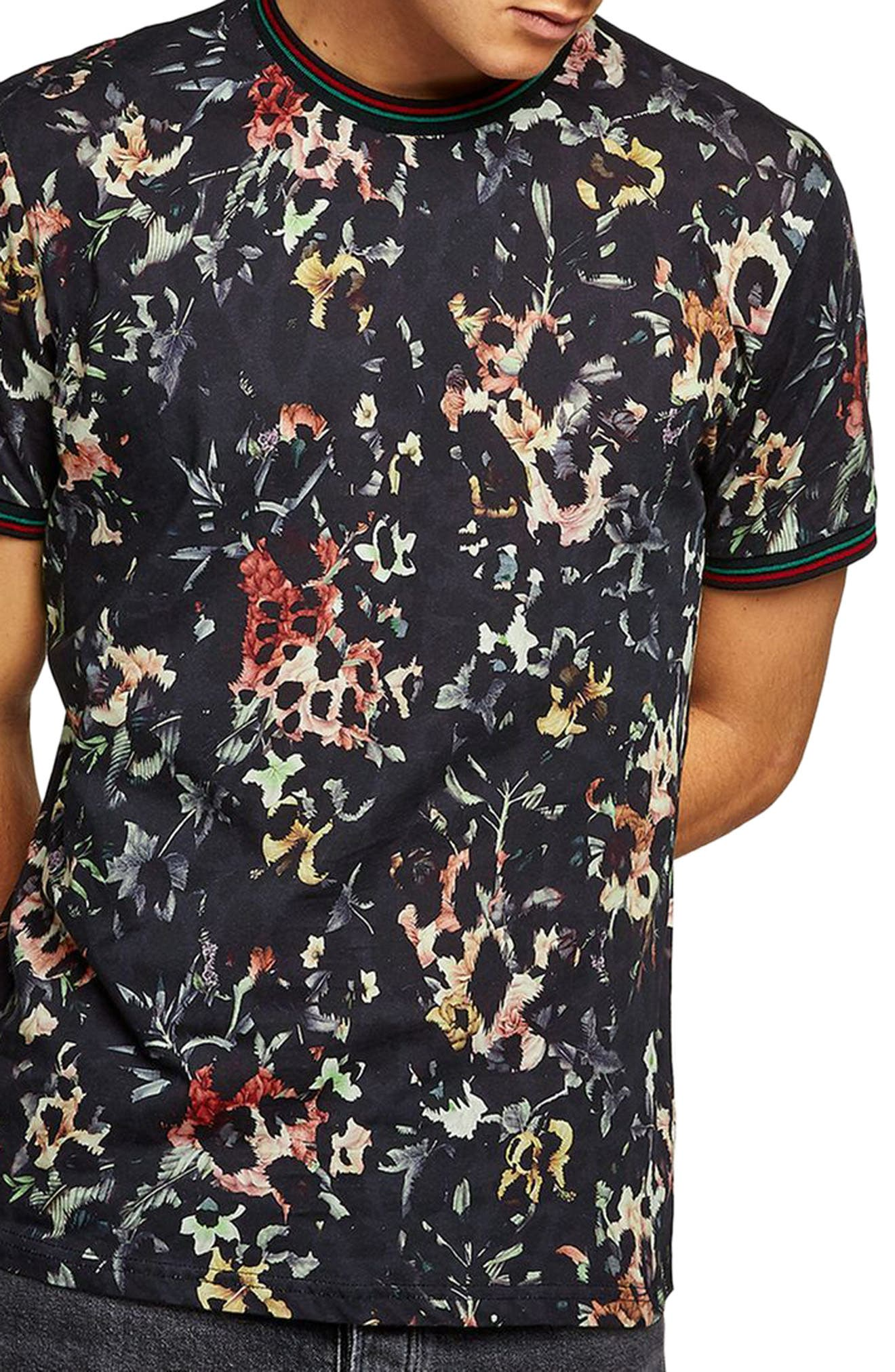 Floral Leopard Print T-Shirt,                             Main thumbnail 1, color,                             Black Multi