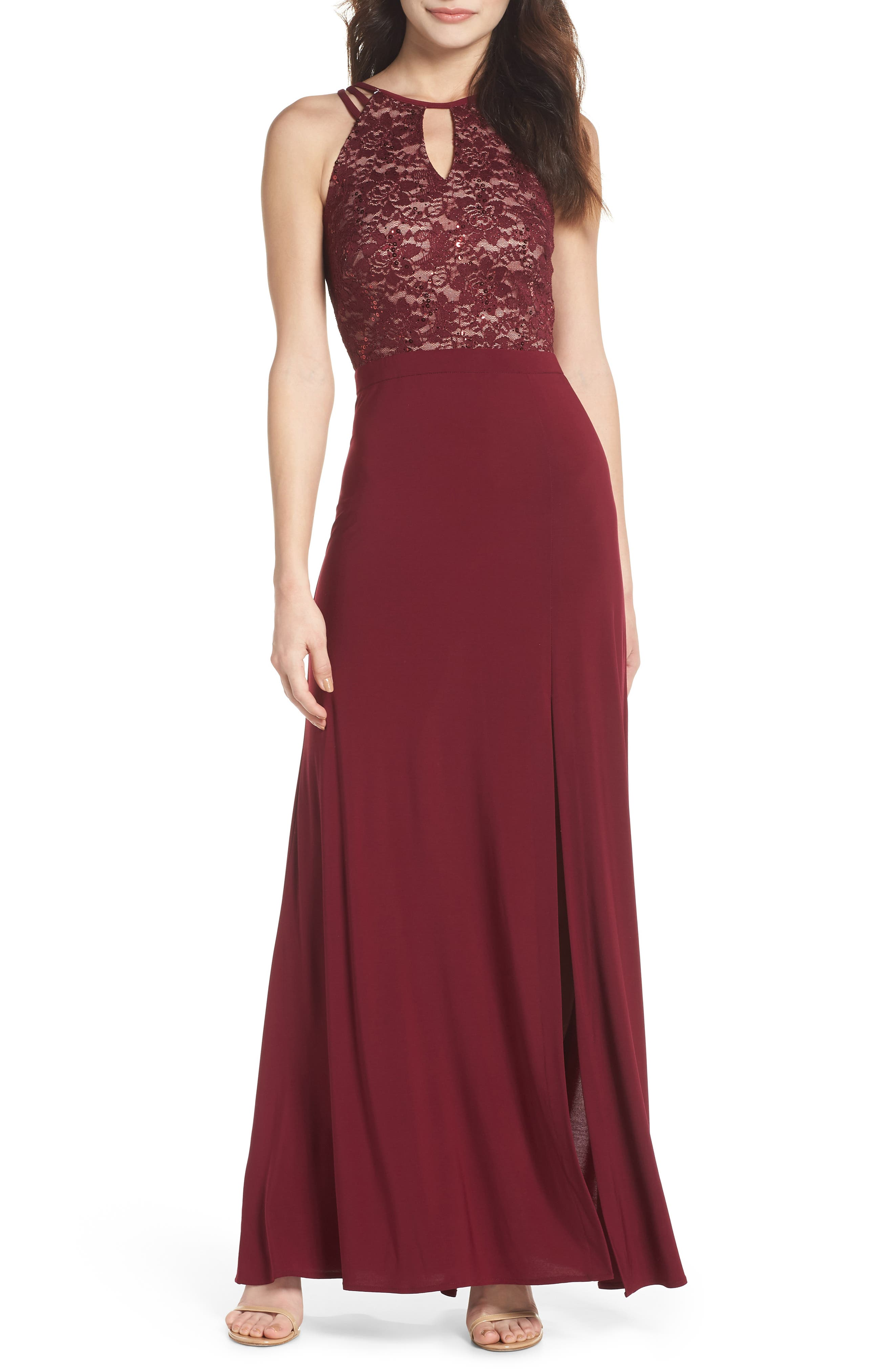 Embellished Lace Gown,                             Main thumbnail 1, color,                             Merlot/ Nude