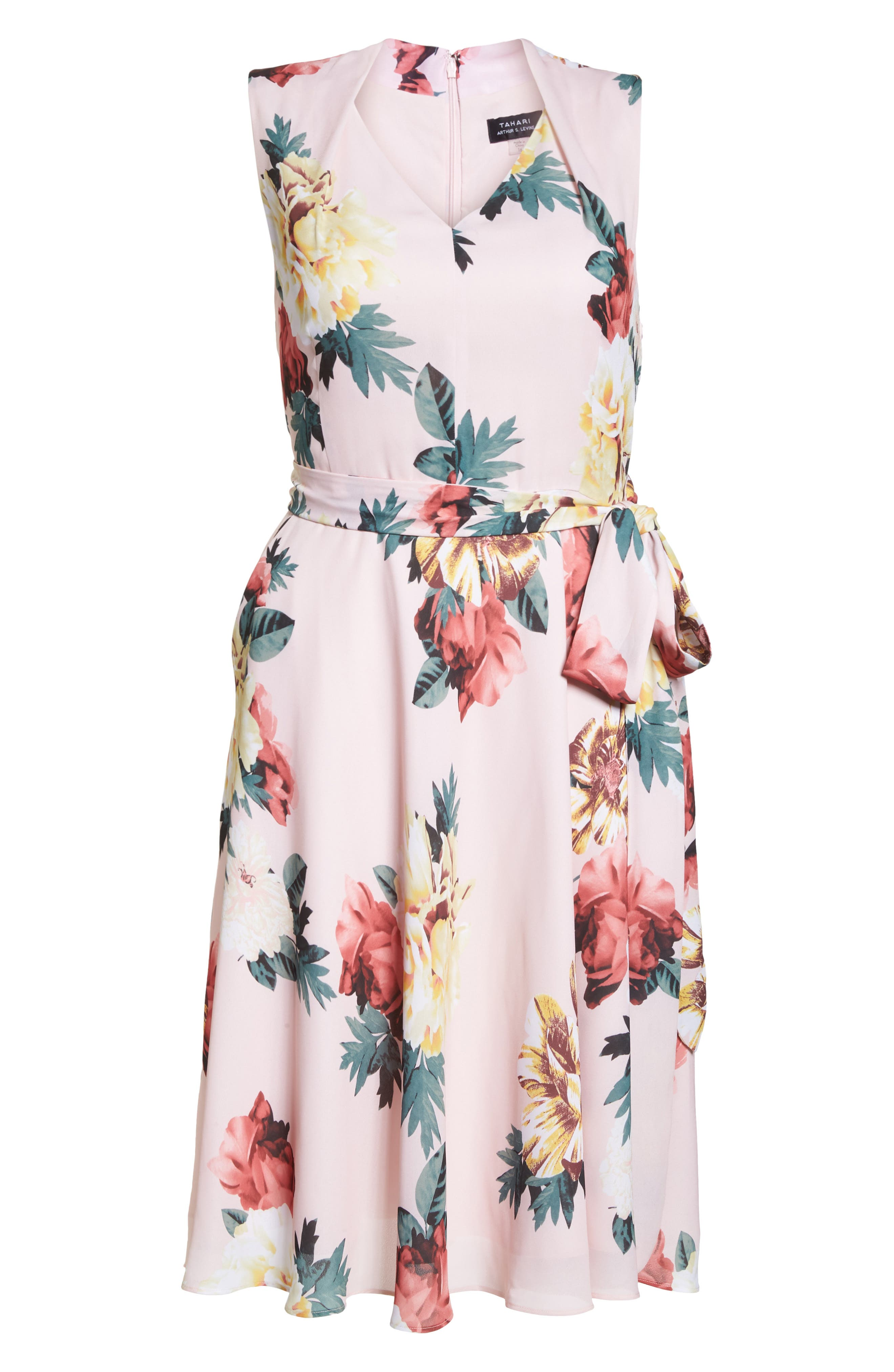 Floral Print Tie Waist Fit & Flare Dress,                             Alternate thumbnail 7, color,                             Blush/ Lemon/ Coral