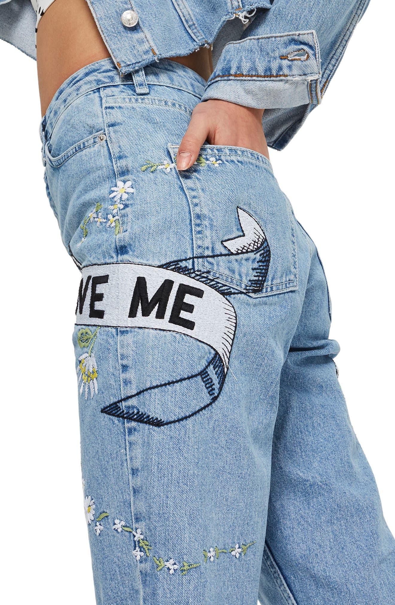 Love Me Bleach Mom Jeans,                             Alternate thumbnail 4, color,                             Light Blue