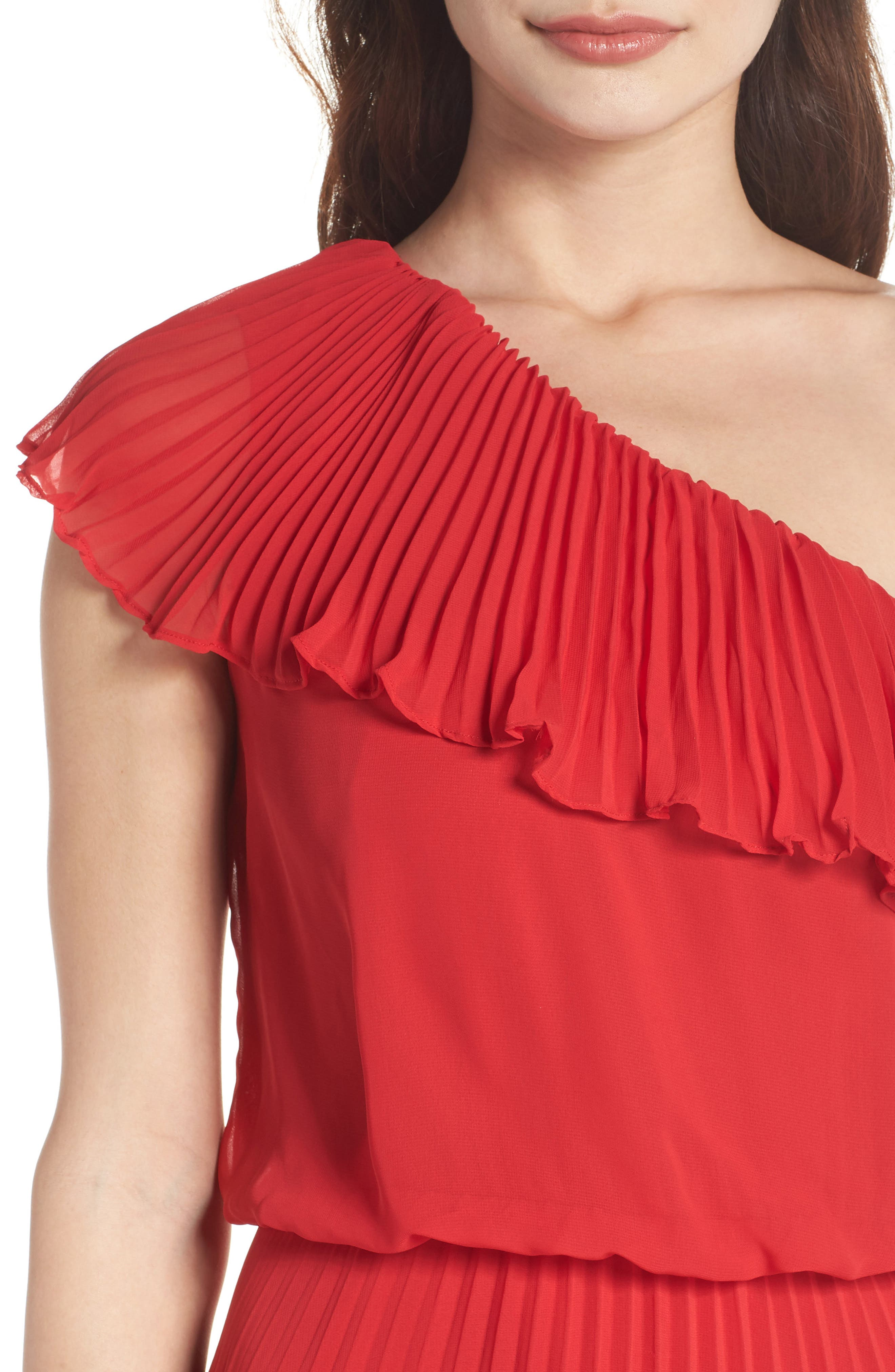 One-Shoulder Pleat Chiffon Gown,                             Alternate thumbnail 4, color,                             Red