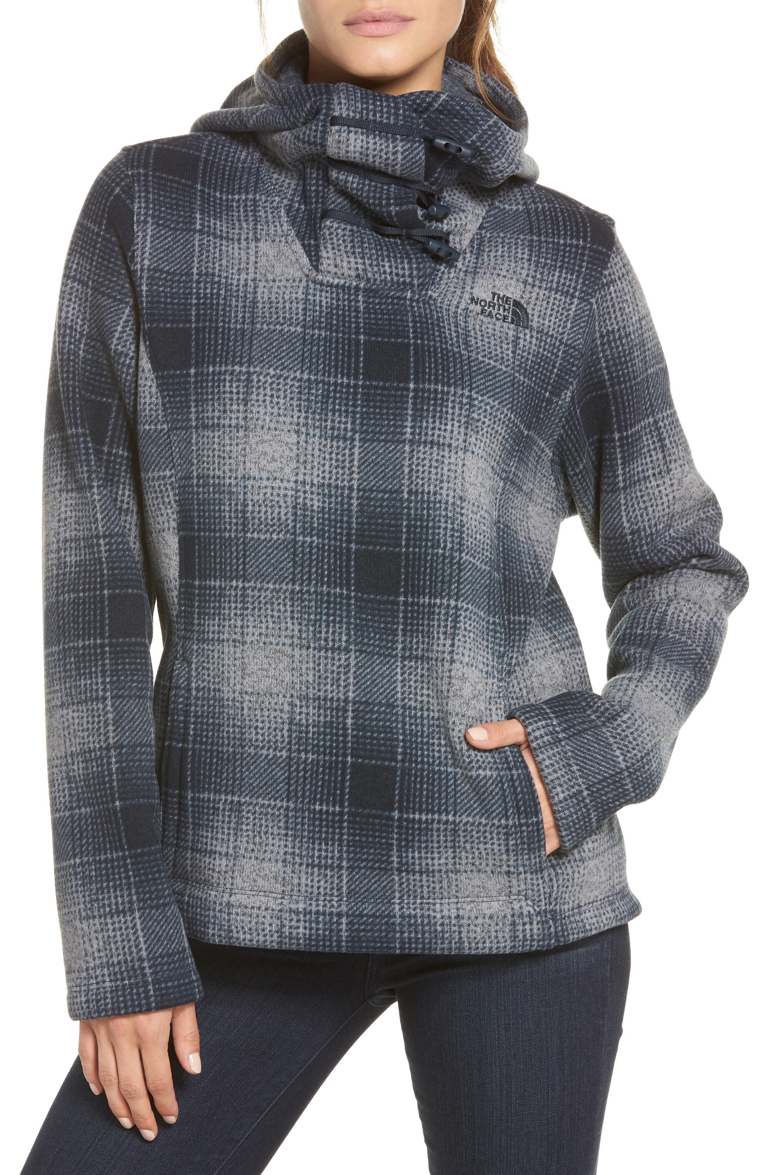 Crescent Hooded Pullover,                         Main,                         color, Mid Grey Ombre Plaidsmallprint