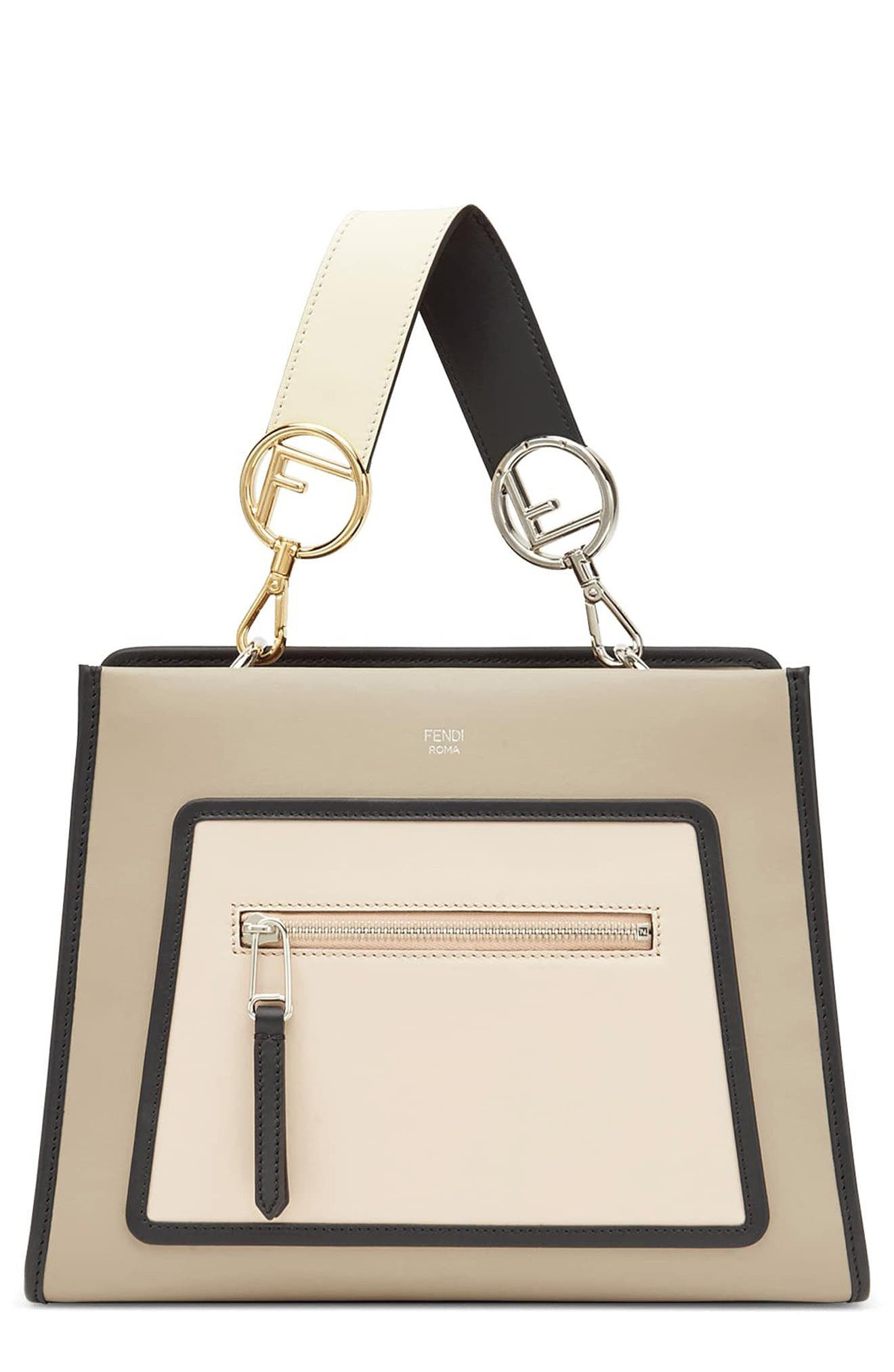 SMALL RUNAWAY SMALL COLORBLOCK LEATHER TOTE - BROWN