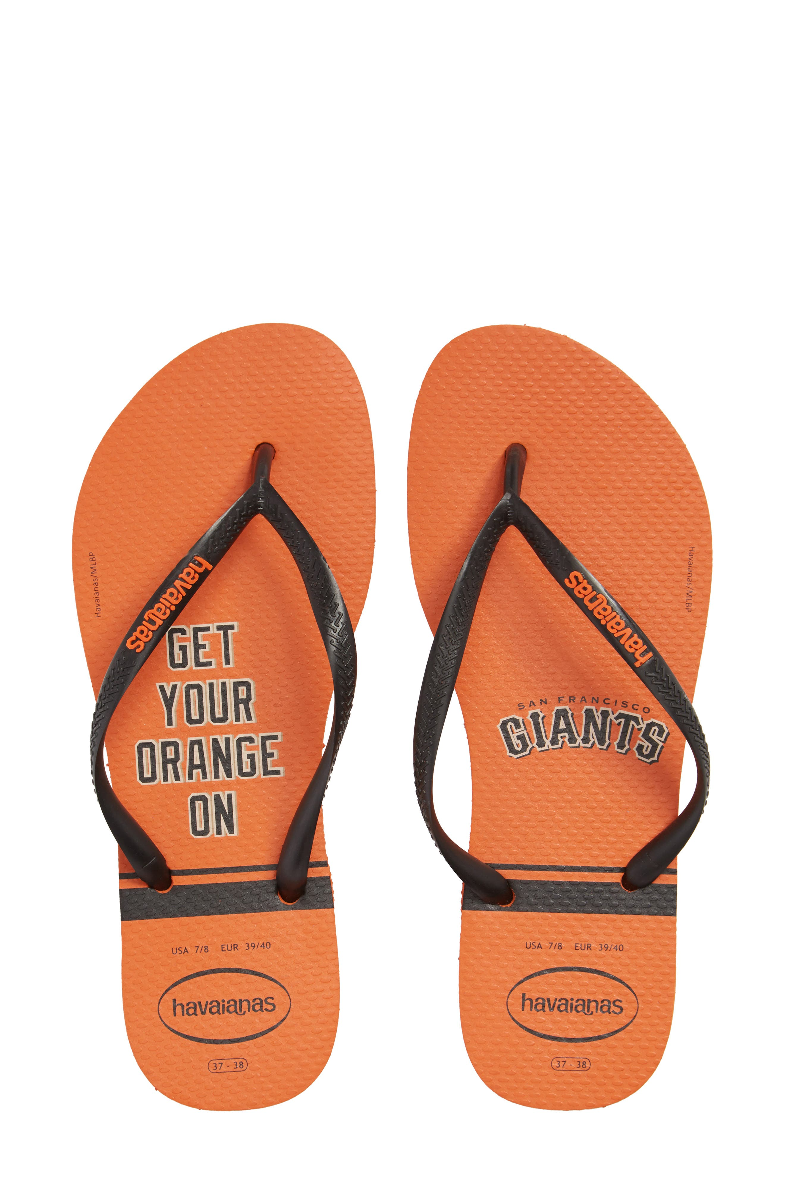 Slim MLB Flip Flop,                         Main,                         color, Neon Orange