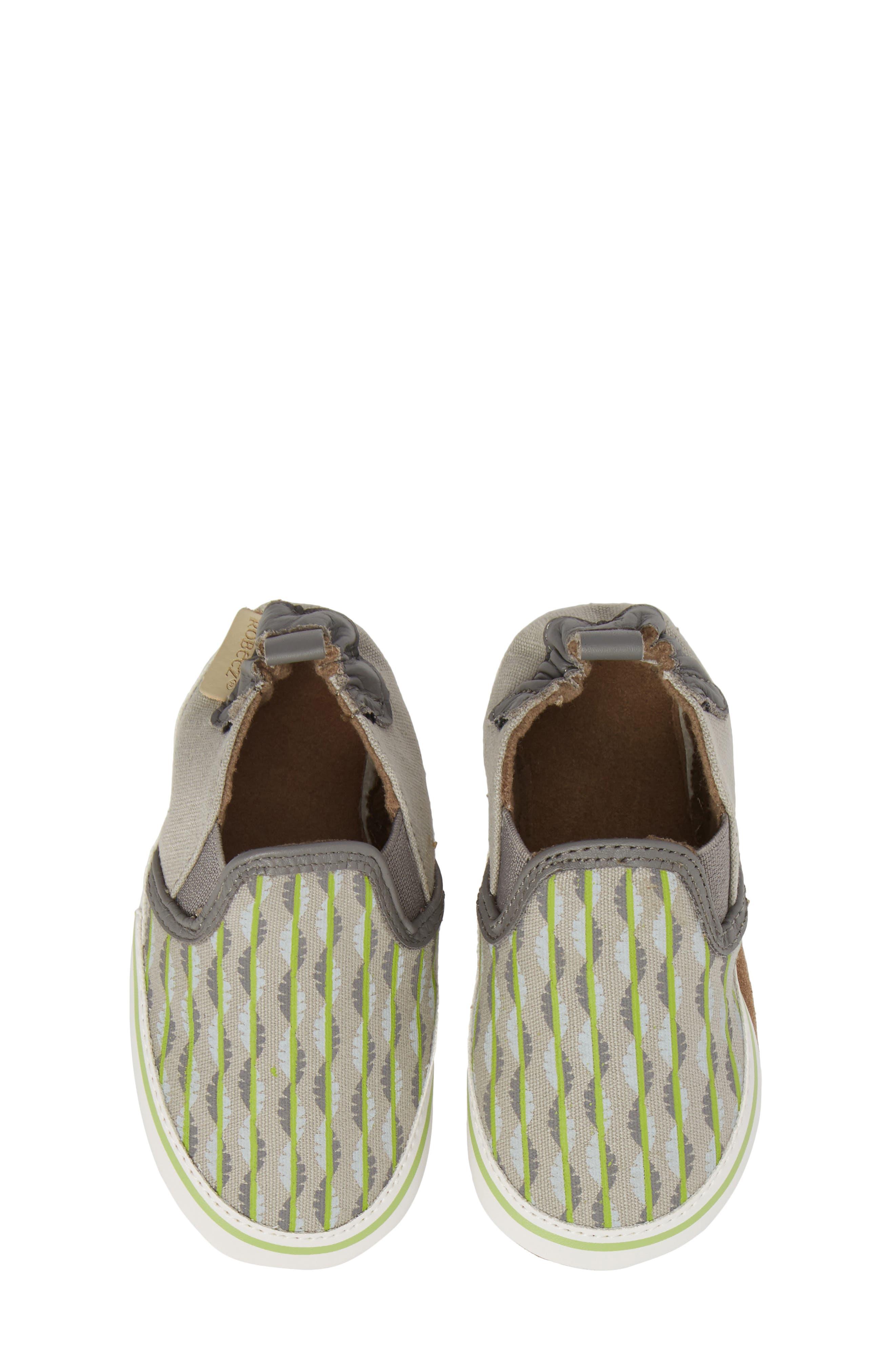 Liam Tropical Print Crib Shoe,                         Main,                         color, Grey