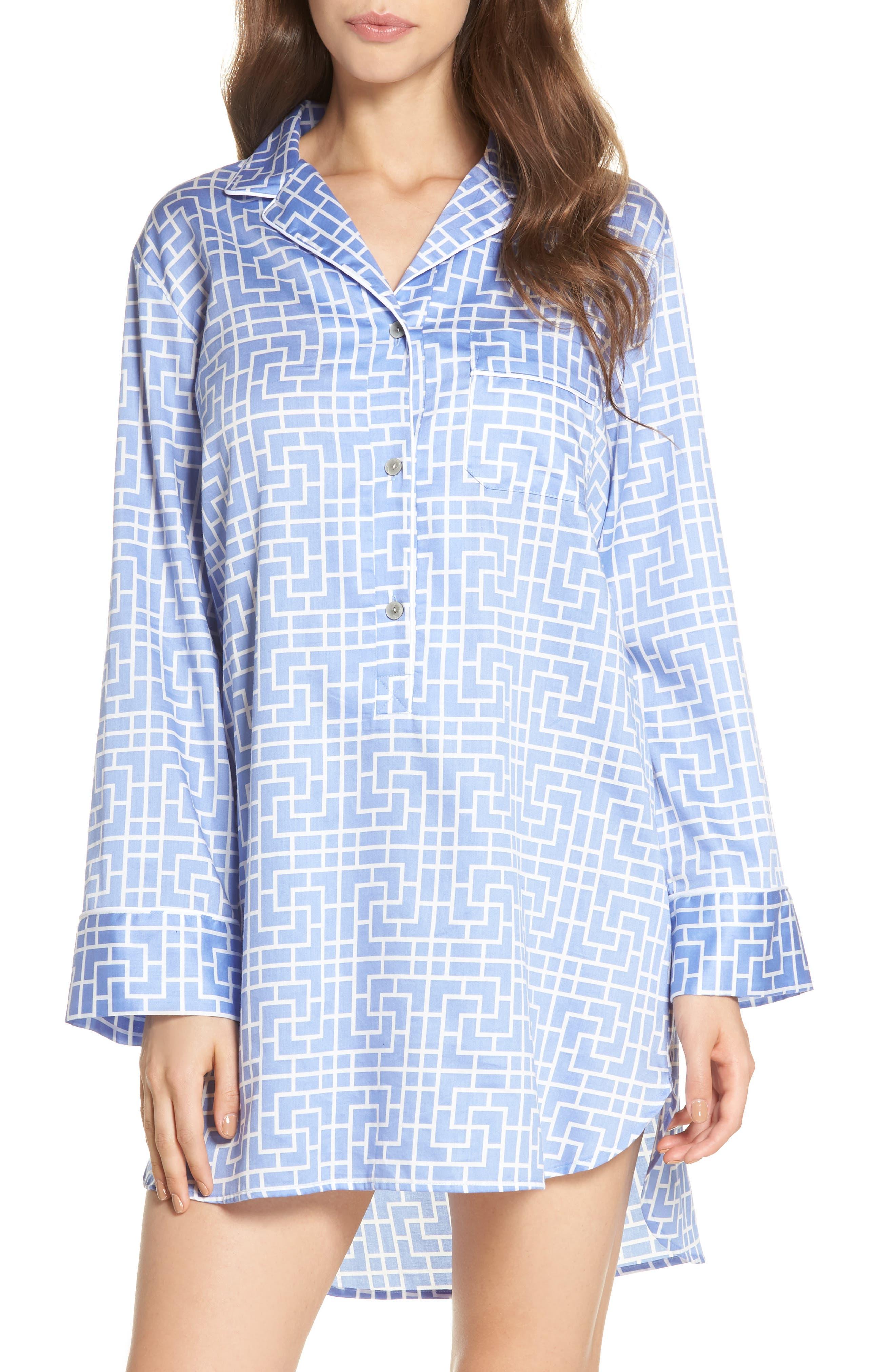 Abstract Maze Sateen Sleep Shirt,                         Main,                         color, Wedgewood