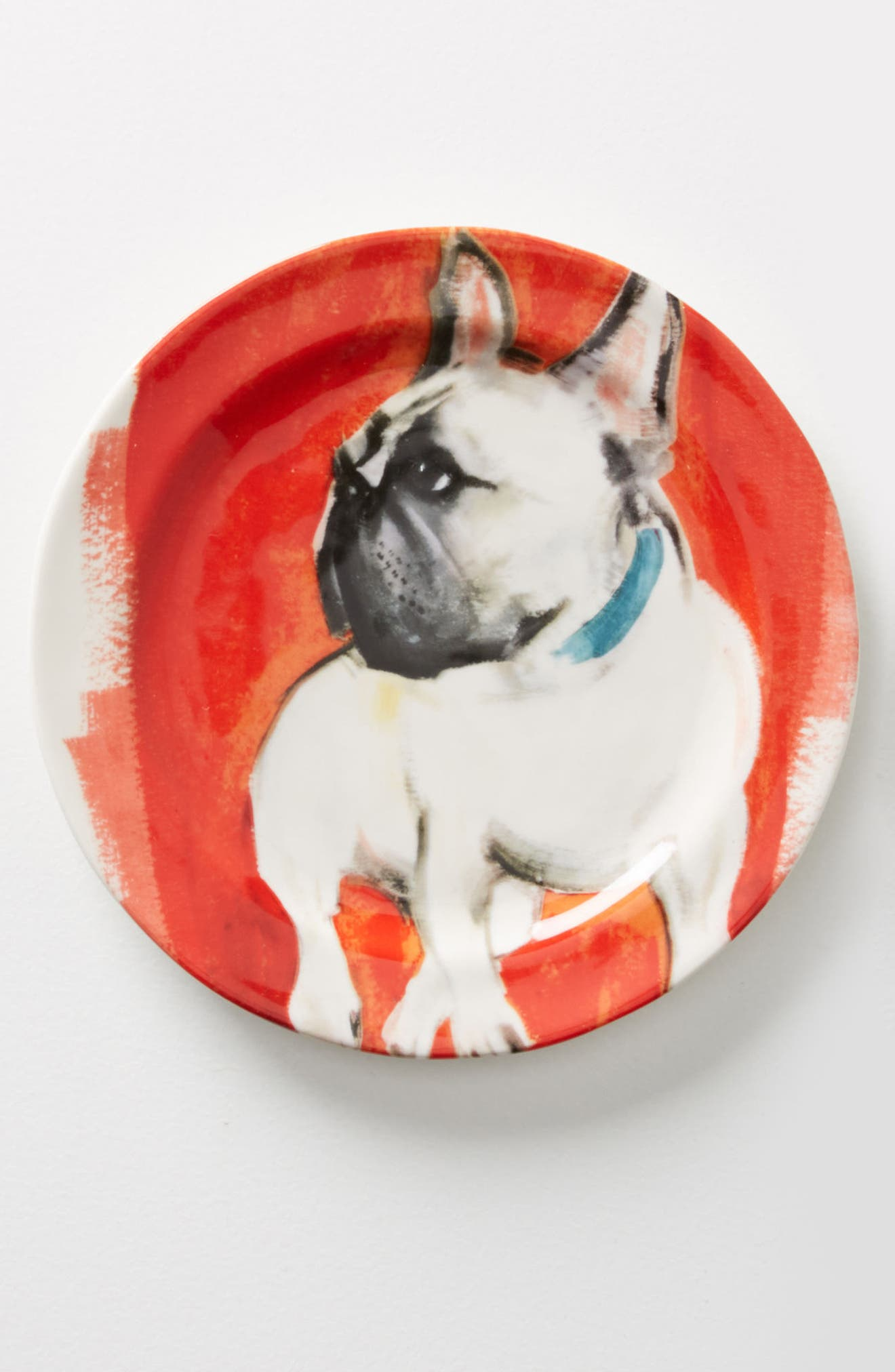 Dog-a-Day Stoneware Dessert Plate,                             Main thumbnail 1, color,                             Frenchie